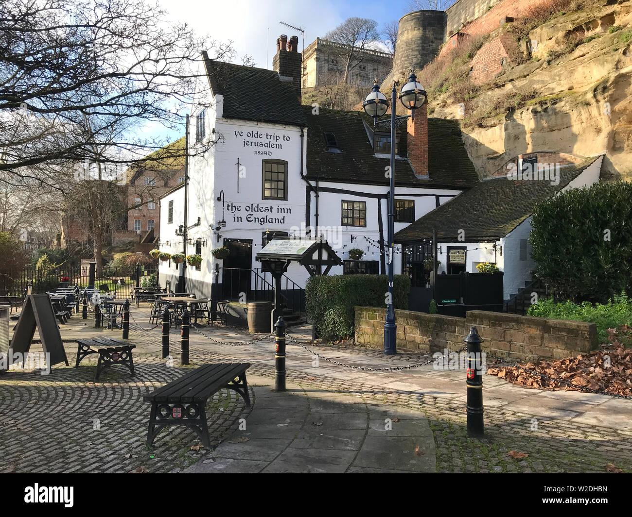 Ye Olde Trip To Jerusalem Pub in Nottingham, England Stock Photo