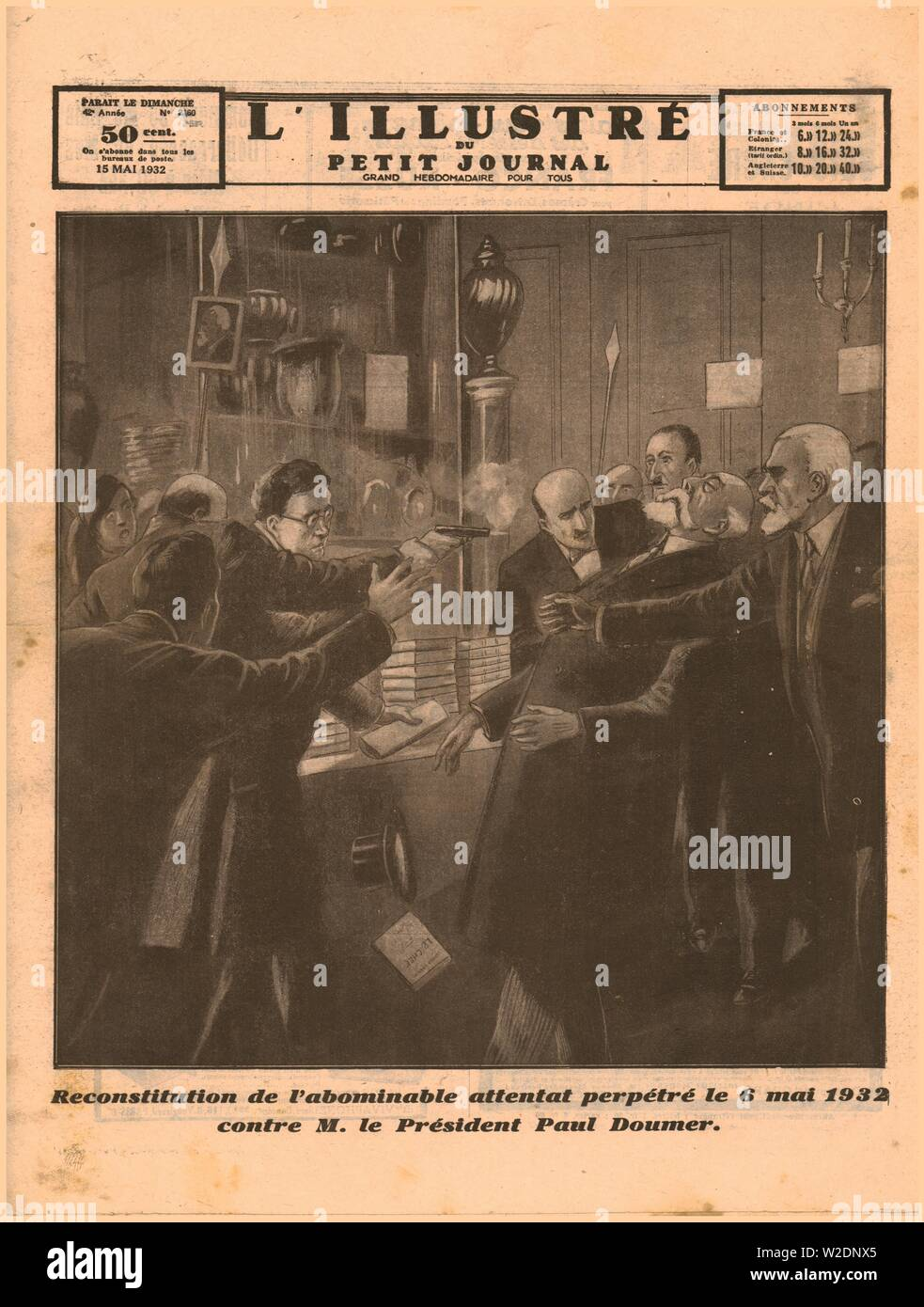 The assassination of President Paul Doumer, 1932. 'Reconstitution de l'abominable attentat perpetré le 6 Mai 1932 contre M. le President Paul Doumer'. 'Representation of the abominable attack perpetrated on 6 May 1932 against President Paul Doumer'. French president Paul Doumer (1857-1932) was shot by Russian émigré Paul Gorguloff at a book fair at the Hôtel Salomon de Rothschild in Paris. Author Claude Farrère wrestled with Gorguloff until police arrived. Doumer died in hospital the following day, the only French president to die of a gunshot wound. Gorguloff was foun - Stock Image