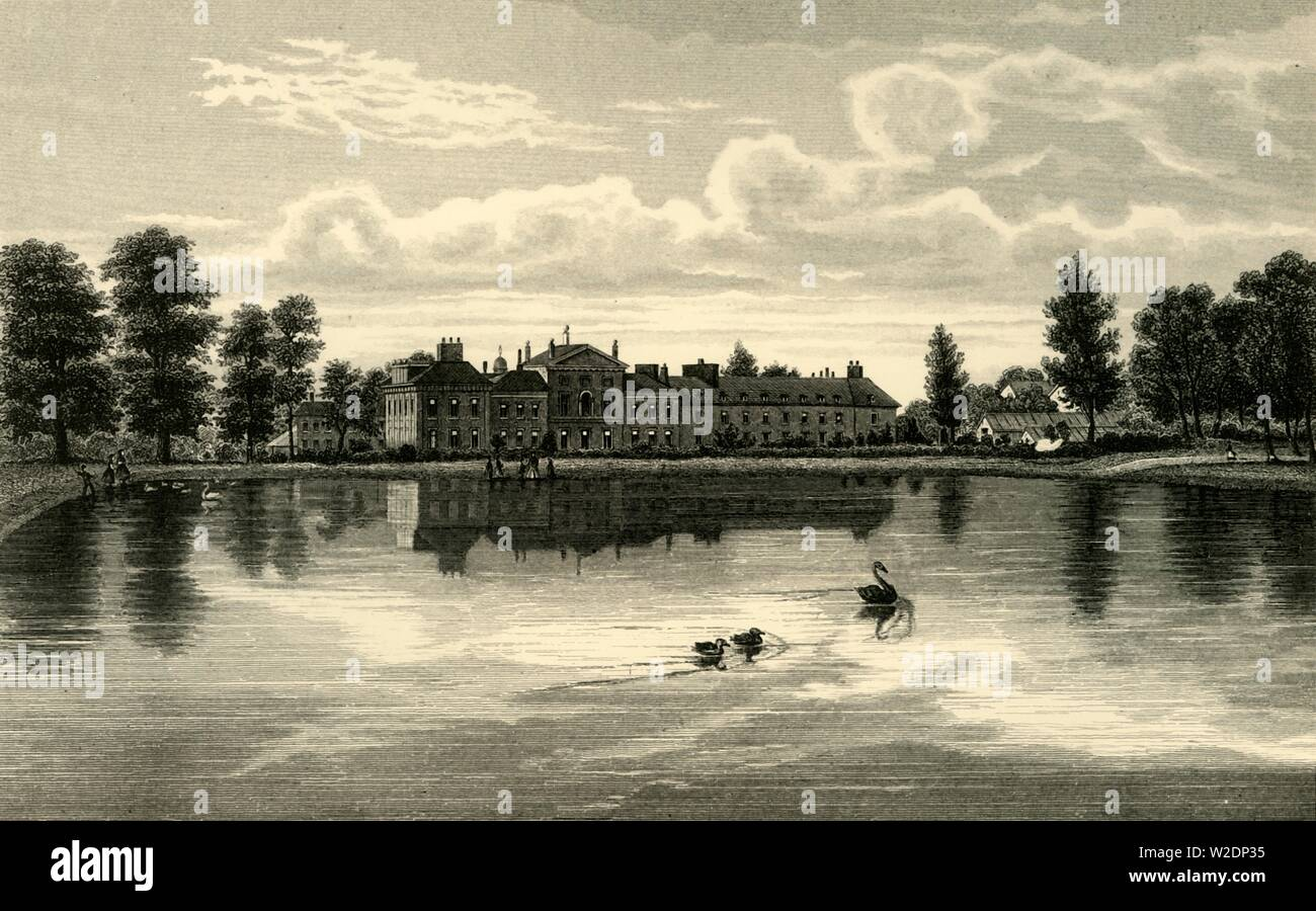 """'Kensington Palace', c1876. Residence of the British Royal Family since 17th century, birthplace of Queen Victoria. A former Jacobean mansion extended by Christopher Wren.  From """"Old and New London: A Narrative of Its History, Its People, and Its Places. The Western and Northern Studies"""", by Edward Walford. [Cassell, Petter, Galpin & Co., London, Paris & New York] - Stock Image"""