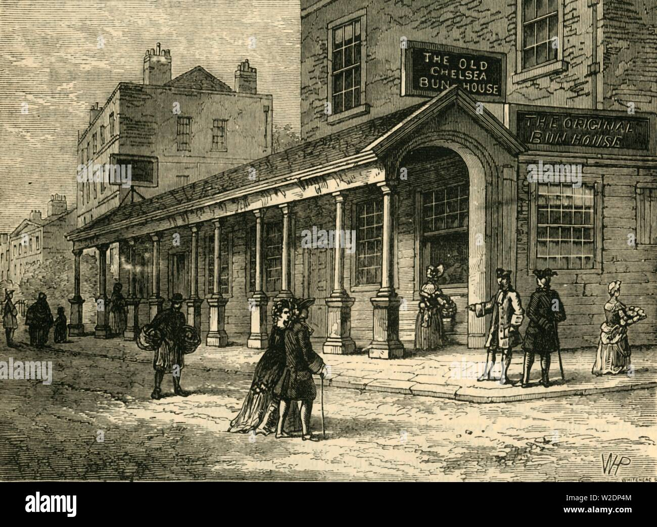 """'The Chelsea Bun-House, 1810', (c1876). The Chelsea Bun House sold Chelsea buns and hot cross buns at Easter, with patronage of Kings George II, George III and their families, the shop was demolished in 1839. From """"Old and New London: A Narrative of Its History, Its People, and Its Places. The Western and Northern Studies"""", by Edward Walford. [Cassell, Petter, Galpin & Co., London, Paris & New York] - Stock Image"""