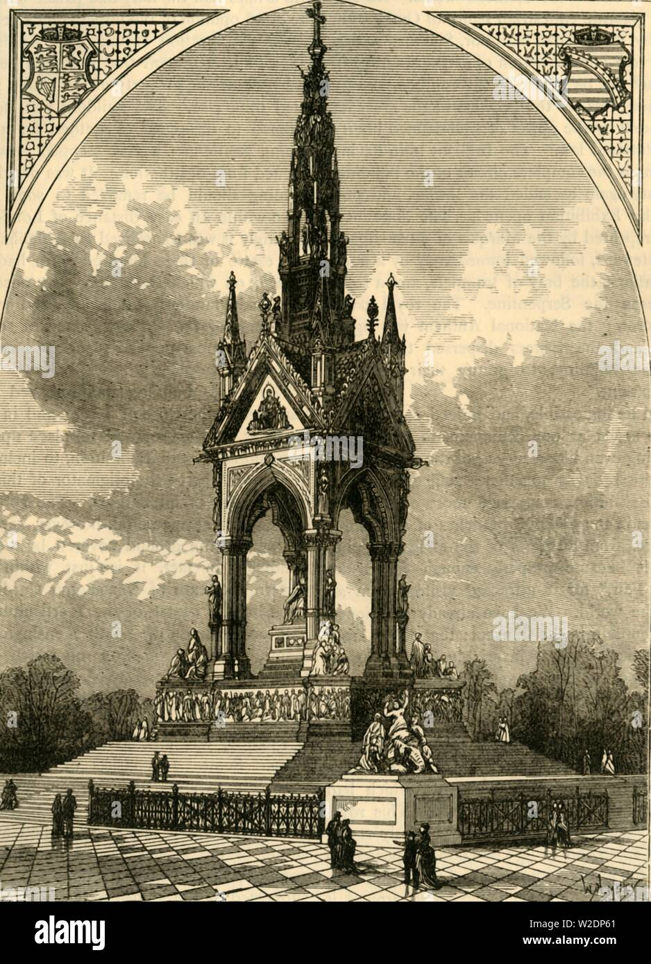 """'The Albert Memorial', c1876. The Albert Memorial  in Kensington Gardens, designed by Sir George Gilbert Scott in Gothic Revival style was commissioned by Queen Victoria in memory of her husband Prince Albert, who died in 1861 and is Grade I listed. From """"Old and New London: A Narrative of Its History, Its People, and Its Places. The Western and Northern Studies"""", by Edward Walford. [Cassell, Petter, Galpin & Co., London, Paris & New York] - Stock Image"""