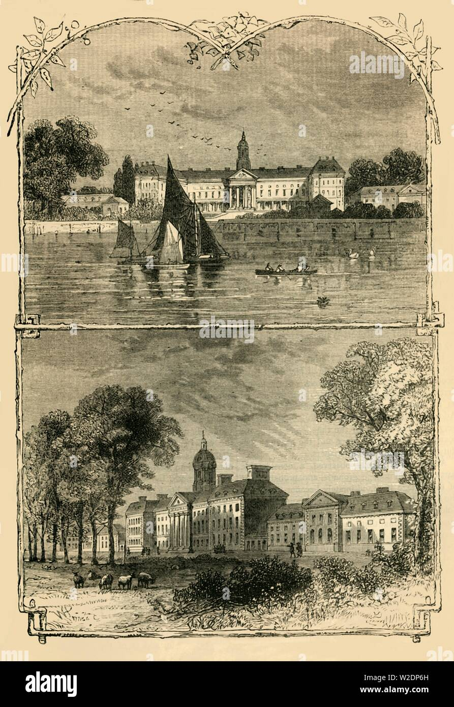 """'Chelsea Hospital', c1876.  Royal Hospital Chelsea is a retirement and nursing home for veterans of the British Army, founded by King Charles II in 1682,  the gardens are Grade II listed .  From """"Old and New London: A Narrative of Its History, Its People, and Its Places. The Western and Northern Studies"""", by Edward Walford. [Cassell, Petter, Galpin & Co., London, Paris & New York] - Stock Image"""