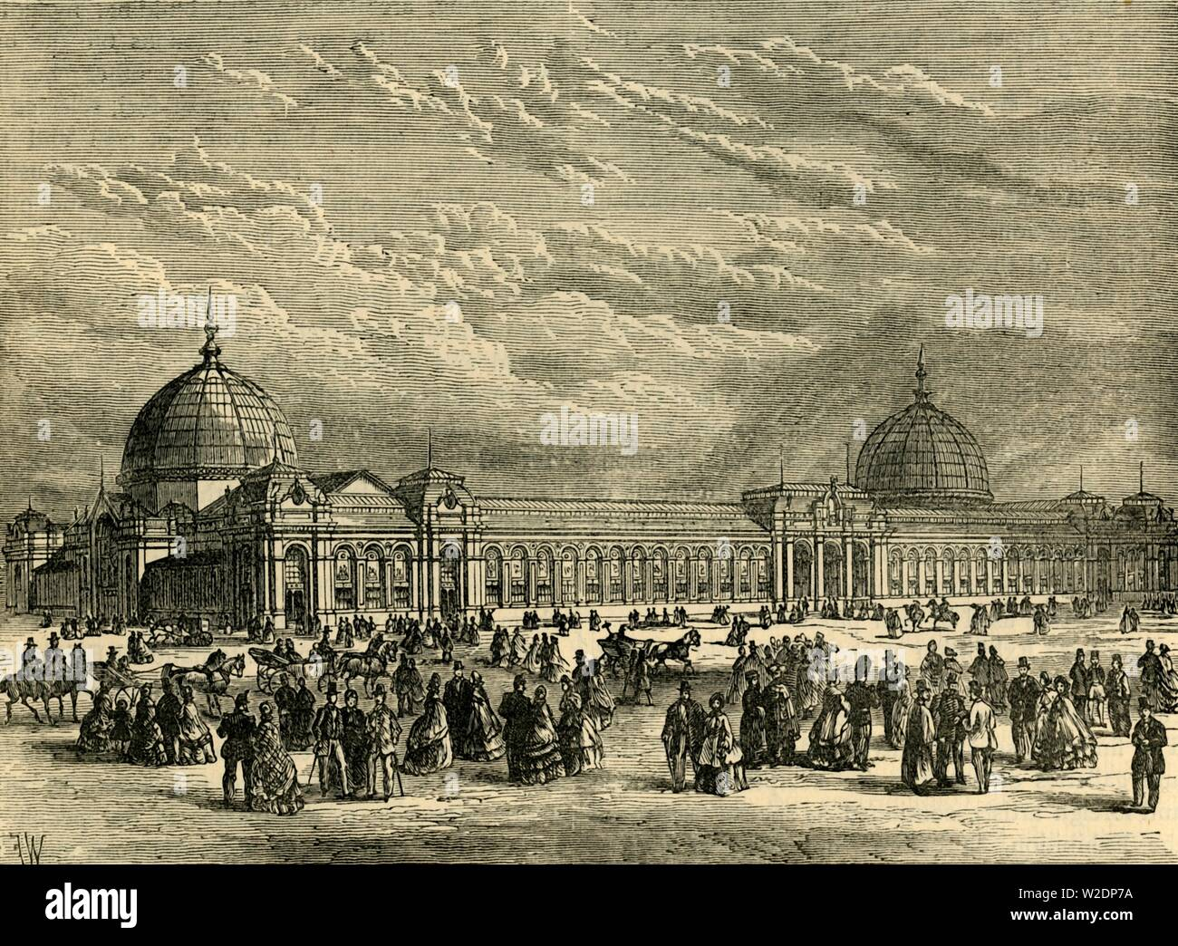 """'The International Exhibition of 1862', (c1876). The Great London Exposition was a world fair held from 1 May to 1 November 1862 in South Kensington, on what is now Exhibition Road with buildings designed by Captain Francis Fowke. From """"Old and New London: A Narrative of Its History, Its People, and Its Places. The Western and Northern Studies"""", by Edward Walford. [Cassell, Petter, Galpin & Co., London, Paris & New York] - Stock Image"""