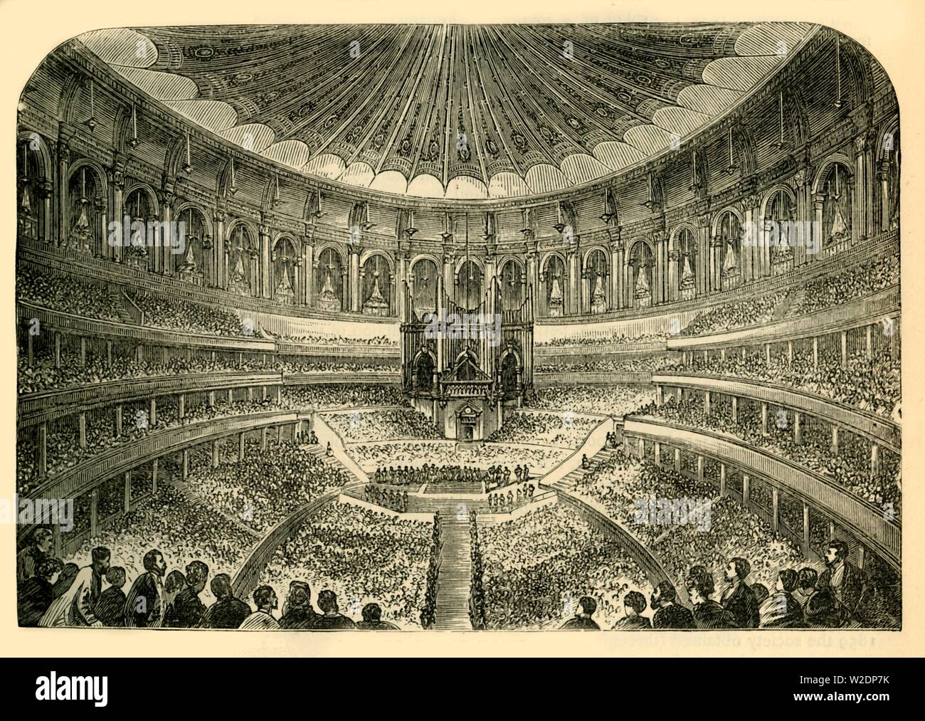 """'Interior of the Albert Hall', c1876. Royal Albert Hall is a concert hall in South Kensington, designed by civil engineers Francis Fowke and Henry Y. D. Scott, opened by by Queen Victoria in 1871 who laid the foundation stone in 1867, in memory of her husband, Prince Albert. From """"Old and New London: A Narrative of Its History, Its People, and Its Places. The Western and Northern Studies"""", by Edward Walford. [Cassell, Petter, Galpin & Co., London, Paris & New York] - Stock Image"""