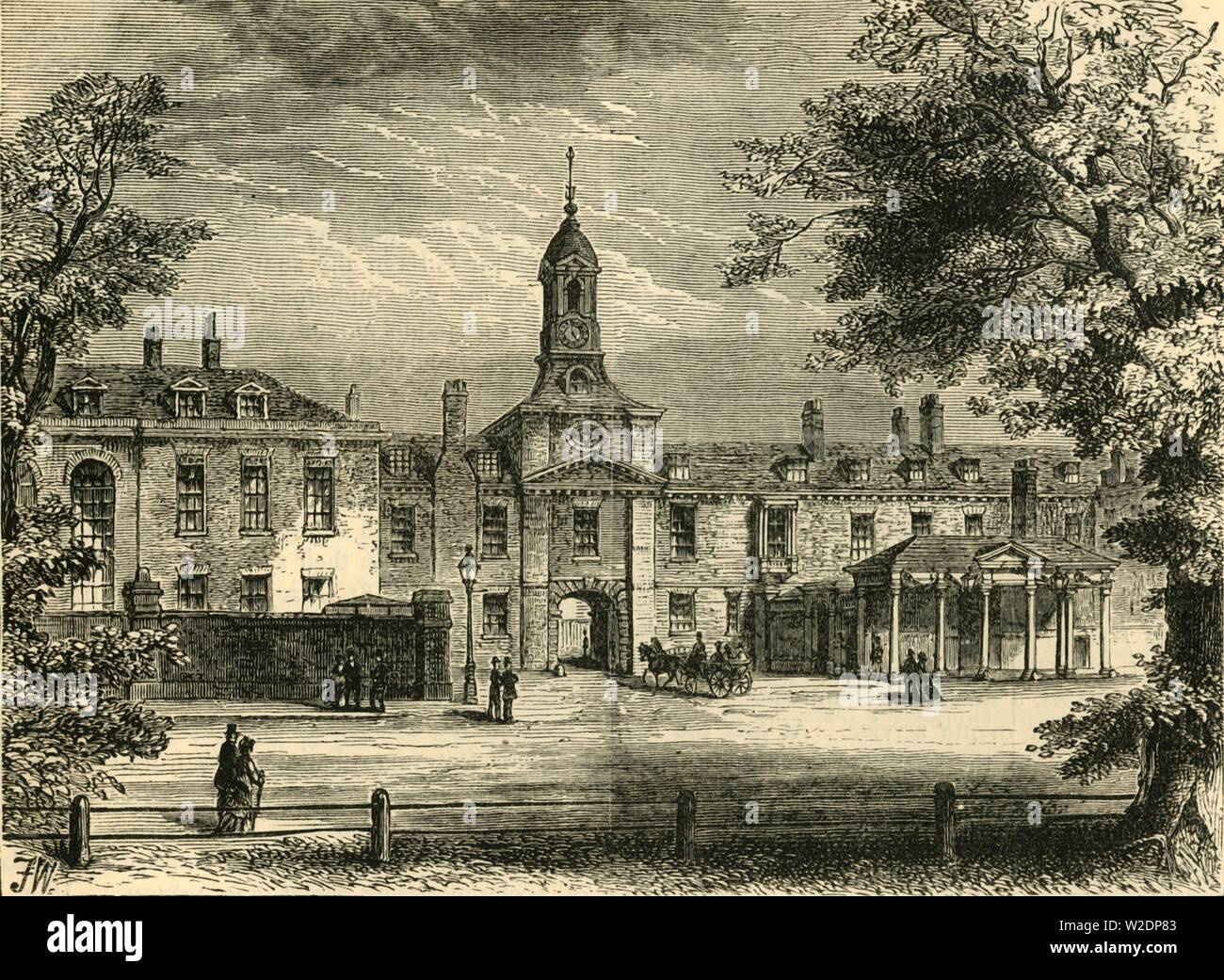 """'West Front of Kensington Palace', c1876.  Kensington Palace, residence of the British Royal Family since 17th century. Originally a Jacobean mansion bought by William and Mary who instructed Sir Christopher Wren to expand it in 1689. From """"Old and New London: A Narrative of Its History, Its People, and Its Places. The Western and Northern Studies"""", by Edward Walford. [Cassell, Petter, Galpin & Co., London, Paris & New York] - Stock Image"""