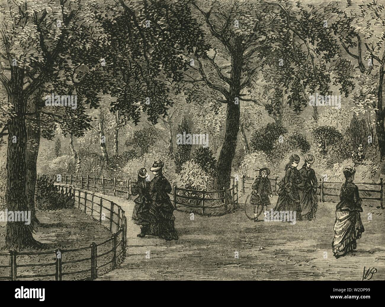 """'The Flower Walks, Kensington Gardens', c1876. Kensington Gardens, once private gardens of Kensington Palace, originally created by Henry VIII in 1536 for use as a hunting ground, Queen Caroline requested they be separated from Hyde Park in 1728. From """"Old and New London: A Narrative of Its History, Its People, and Its Places. The Western and Northern Studies"""", by Edward Walford. [Cassell, Petter, Galpin & Co., London, Paris & New York] - Stock Image"""