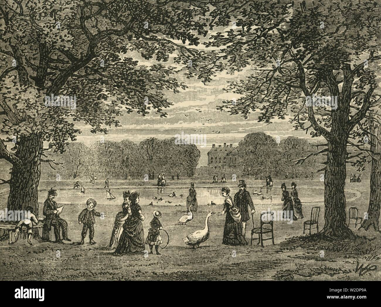 """'The Round Pond, Kensington Gardens', c1876. The Round Pond is an ornamental lake in Kensington Gardens, created in 1730 by George II.  From """"Old and New London: A Narrative of Its History, Its People, and Its Places. The Western and Northern Studies"""", by Edward Walford. [Cassell, Petter, Galpin & Co., London, Paris & New York] - Stock Image"""
