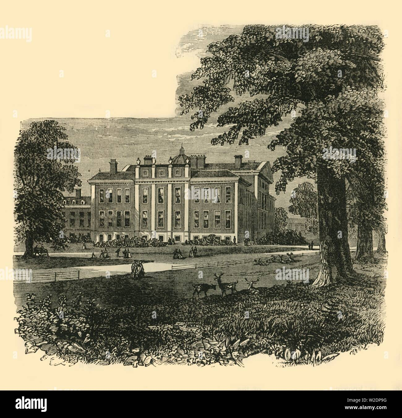 """'Kensington Palace, from the Gardens', c1876.  Kensington Palace, residence of the British Royal Family since 17th century. Originally a Jacobean mansion bought by William and Mary who instructed Sir Christopher Wren to expand it in 1689. From """"Old and New London: A Narrative of Its History, Its People, and Its Places. The Western and Northern Studies"""", by Edward Walford. [Cassell, Petter, Galpin & Co., London, Paris & New York] - Stock Image"""