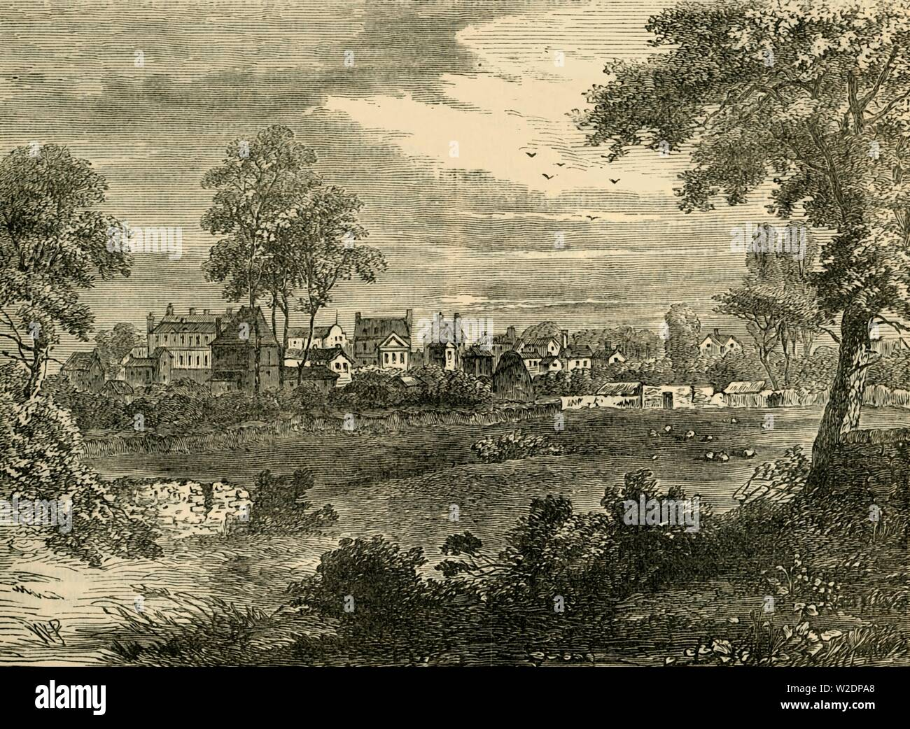 """'Old View of Kensington, about 1750', (c1876). Kensington, was a suburb of London and birth-place of Queen Victoria with conveyancing of property passing between Earls.  From """"Old and New London: A Narrative of Its History, Its People, and Its Places. The Western and Northern Studies"""", by Edward Walford. [Cassell, Petter, Galpin & Co., London, Paris & New York] - Stock Image"""