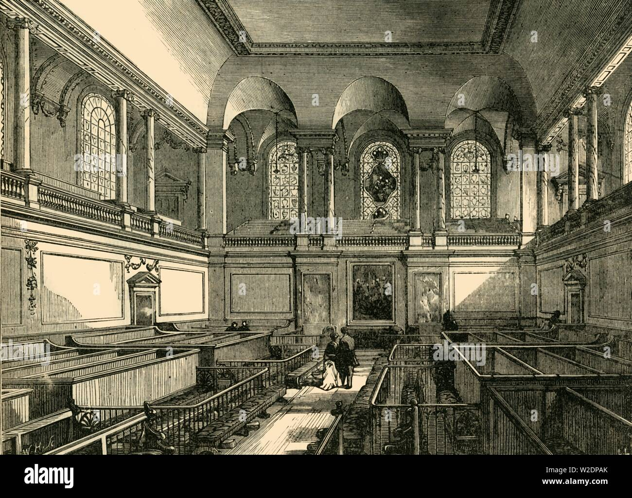 """'Interior of the Chapel of the Foundling Hospital', c1876. Founded in 1739 by Thomas Coram, the Foundling Hospital in Bloomsbury was a children's home for the """"education and maintenance of exposed and deserted young children' and a fashionable charity of the time. From """"Old and New London: A Narrative of Its History, Its People, and Its Places. The Western and Northern Studies"""", by Edward Walford. [Cassell, Petter, Galpin & Co., London, Paris & New York] - Stock Image"""