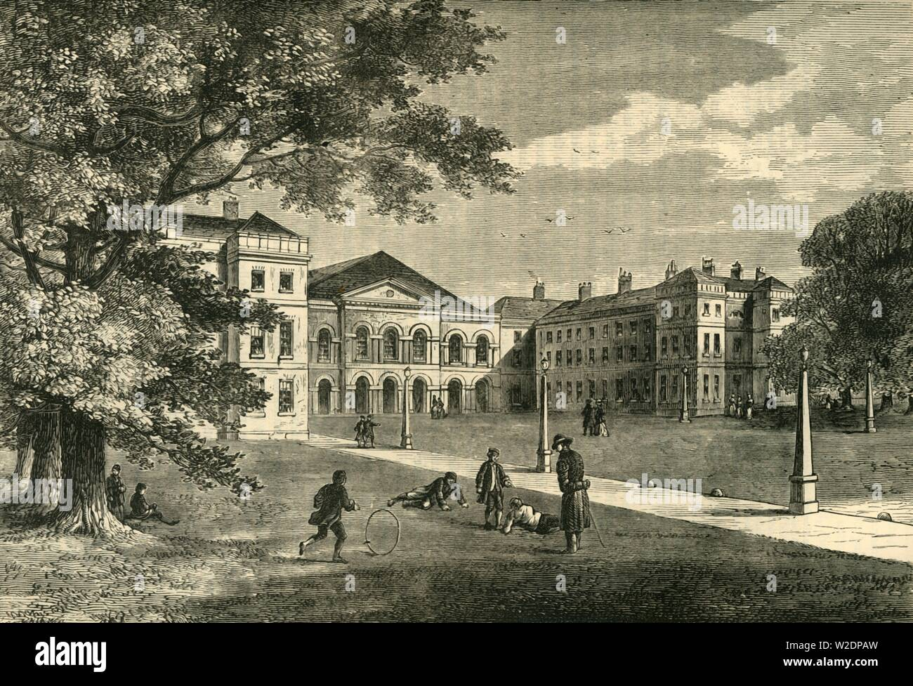 """'Front of the Foundling Hospital', c1876. Founded in 1739 by Thomas Coram, the Foundling Hospital in Bloomsbury, was a children's home for the """"education and maintenance of exposed and deserted young children' and a fashionable charity of the time.  From """"Old and New London: A Narrative of Its History, Its People, and Its Places. The Western and Northern Studies"""", by Edward Walford. [Cassell, Petter, Galpin & Co., London, Paris & New York] - Stock Image"""