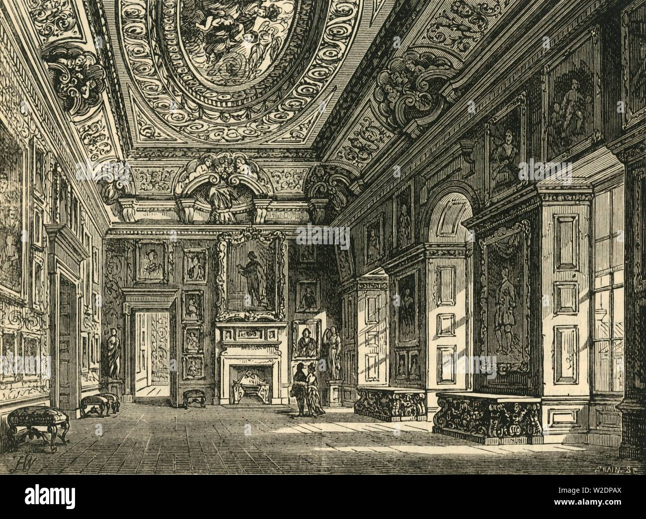"""'Queen Caroline's Drawing-Room, Kensington Palace', c1876. Kensington Palace, residence of the British Royal Family since 17th century. Originally a Jacobean mansion bought by William and Mary who instructed Sir Christopher Wren to expand it in 1689. From """"Old and New London: A Narrative of Its History, Its People, and Its Places. The Western and Northern Studies"""", by Edward Walford. [Cassell, Petter, Galpin & Co., London, Paris & New York] - Stock Image"""