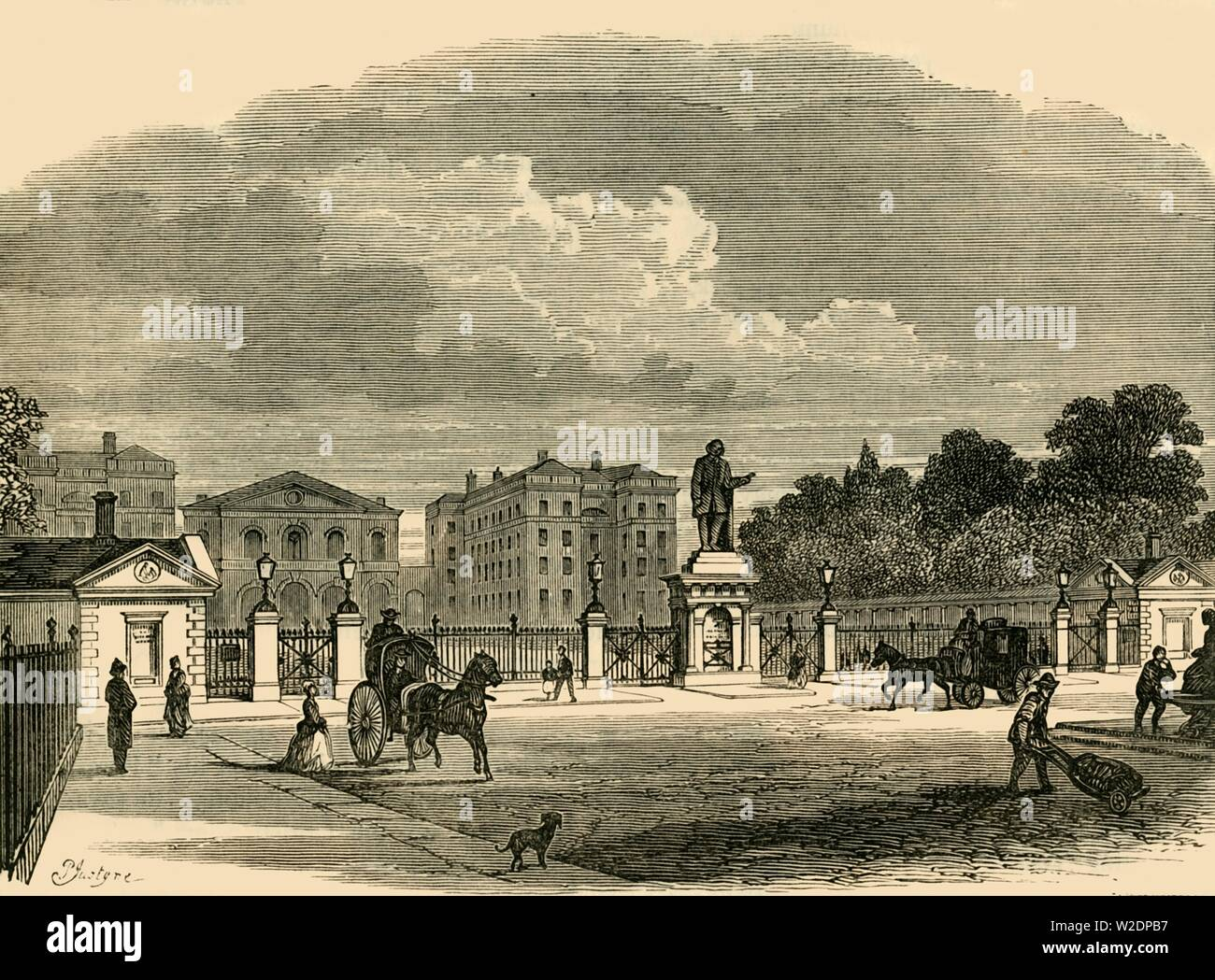 """'Gateway of the Foundling Hospital', c1876. Founded in 1739 by Thomas Coram, the Foundling Hospital in  Bloomsbury, was a children's home for the """"education and maintenance of exposed and deserted young children' and a fashionable charity of the time. From """"Old and New London: A Narrative of Its History, Its People, and Its Places. The Western and Northern Studies"""", by Edward Walford. [Cassell, Petter, Galpin & Co., London, Paris & New York] - Stock Image"""