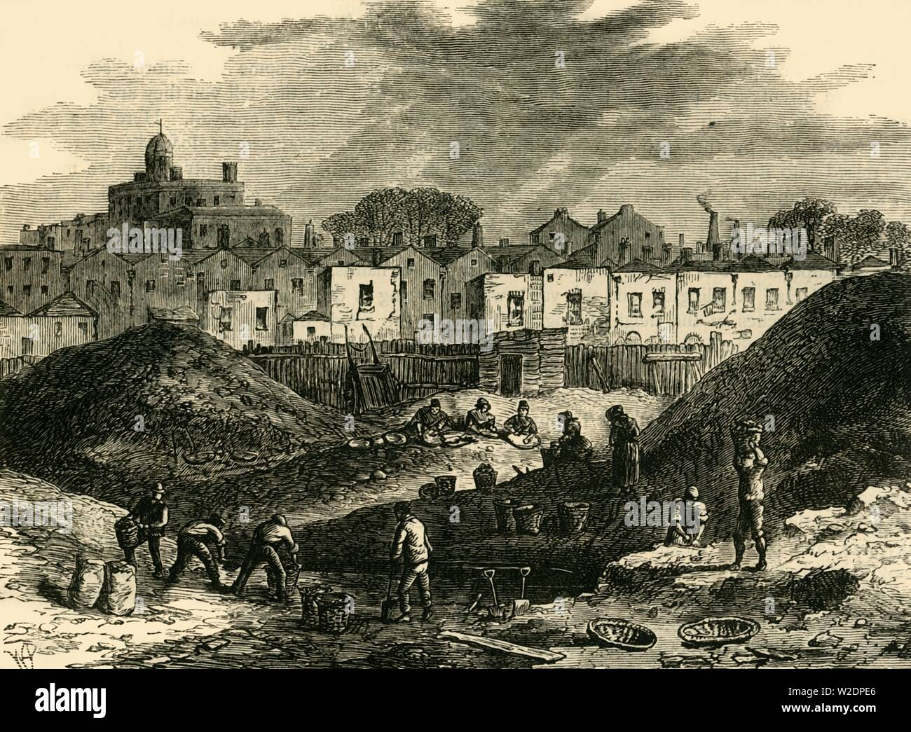 """'The Dust-Heaps, Somers Town, in 1836', (c1876). Somers Town became a dense shanty town, surrounded on several sides by brickfields and dust heaps. From """"Old and New London: A Narrative of Its History, Its People, and Its Places. The Western and Northern Studies"""", by Edward Walford. [Cassell, Petter, Galpin & Co., London, Paris & New York] - Stock Image"""