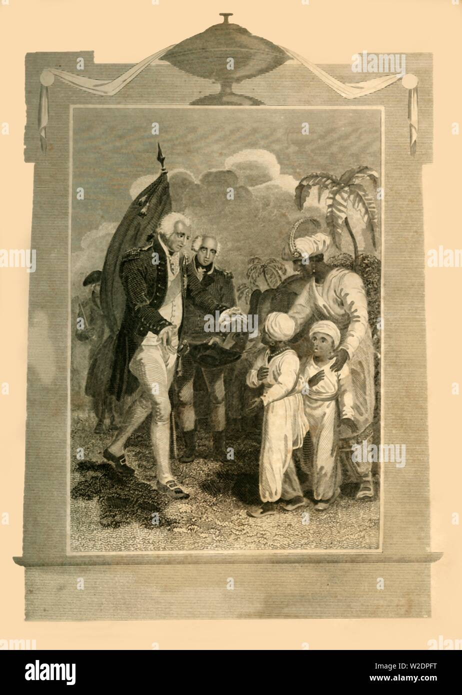 'Lord Cornwallis receiving the Sons of Tippoo Saib', (c1780s), 1816. Creator: Unknown. Stock Photo