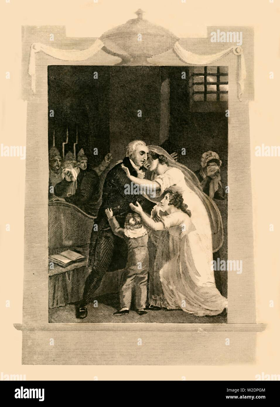 """'Louis XVI taking leave of his family previous to his execution', (1782), 1816. Louis XVI (1754-1793) last king of France was arrested on 13 August 1792, prior to execution by guillotine on 15 January 1793. From """"The History of the War, from the Commencement of the French Revolution to the Present Time, Vol. I"""", by Hewson Clarke, Esq. [T. Kinnersley, Limited, London, 1816] - Stock Image"""
