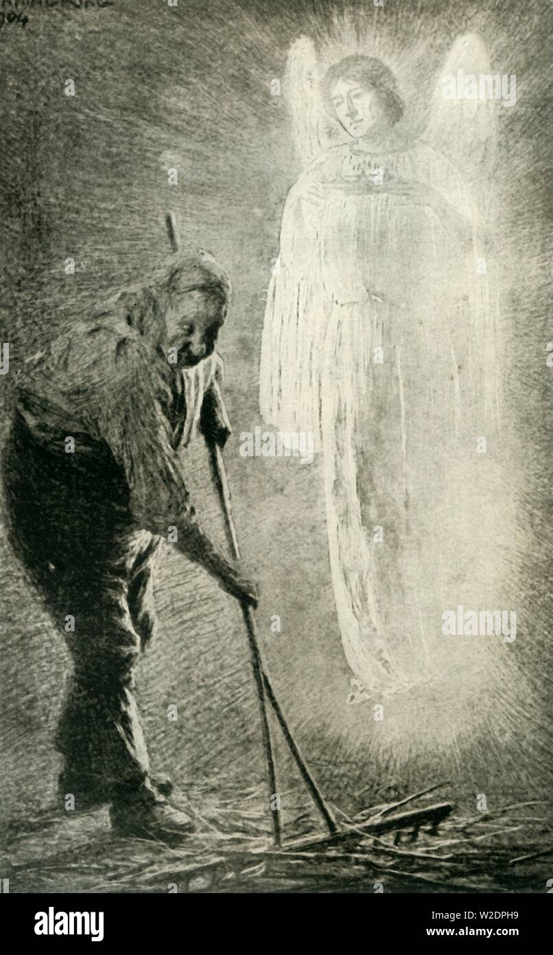 """'The Man with the Muck-Rake', 1936. Illustration for Pilgrim's Progress, by John Bunyan [1678] of the man who could look no way but down as he concentrates on his work, he misses the offer of  a celestial crown. From """"Bibby's Annual 1936"""", edited by Joseph Bibby. [J. Bibby & Sons, Ltd., Liverpool, 1936] - Stock Image"""