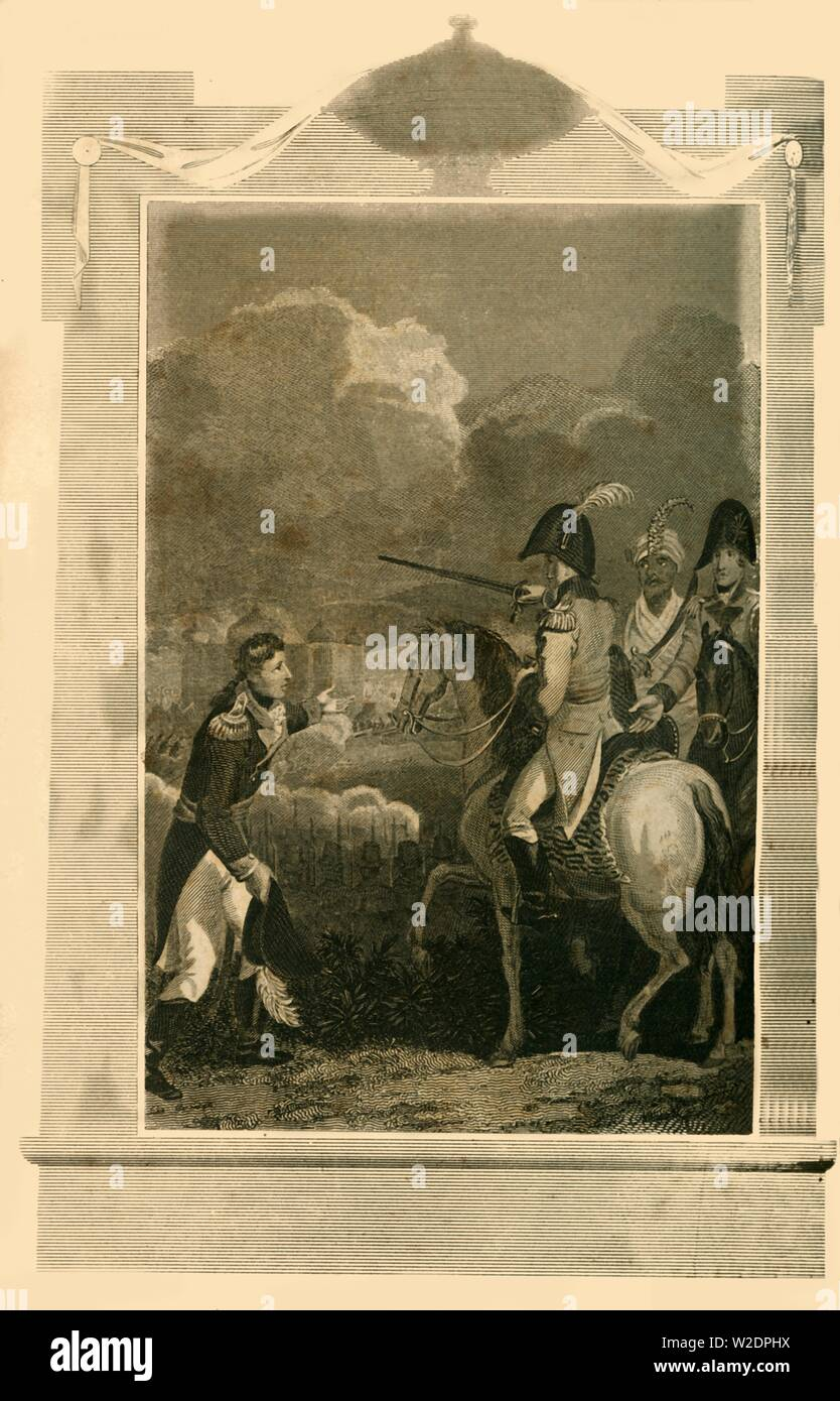 'Sir Arthur Wellesley commanding at the Battle of Assaye', (1803), 1816. Creator: Unknown. Stock Photo