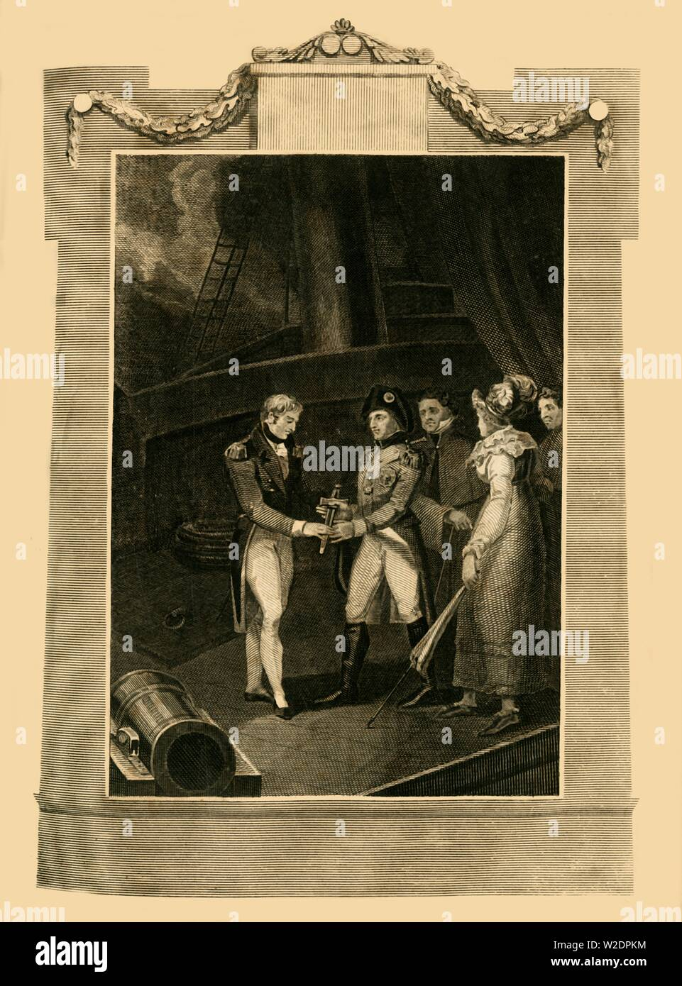 'The surrender of Buonaparte on board the Bellerophon', (15 July 1815), 1816. Creator: Unknown. Stock Photo