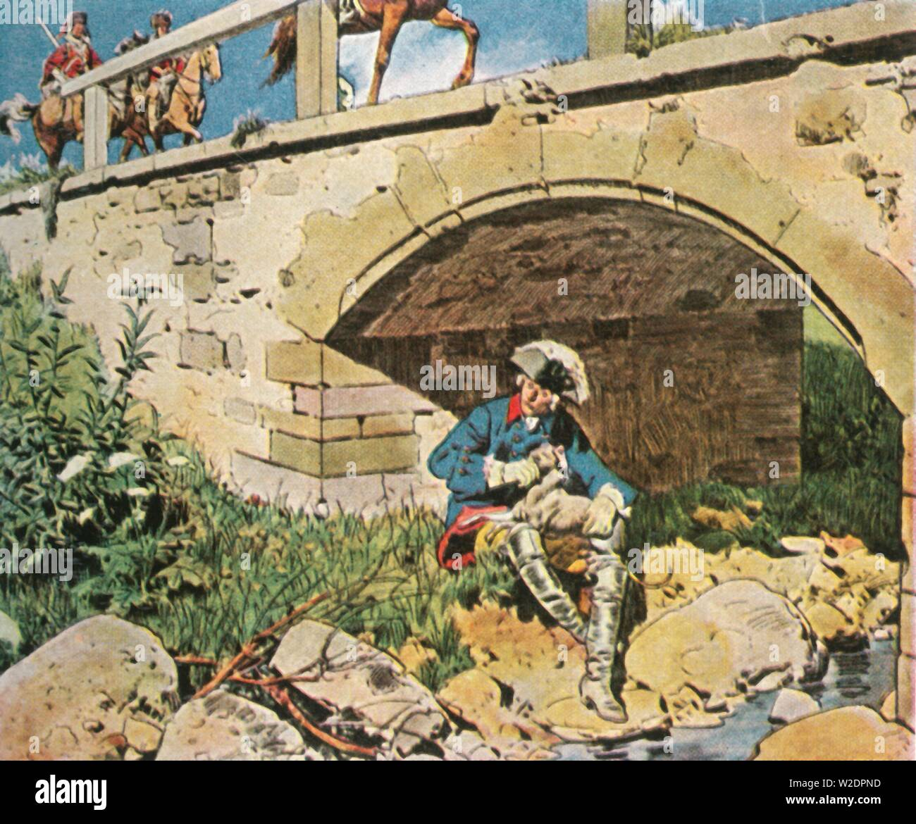 """Frederick the Great evades capture, 1745, (1936). 'Friedrich Der Grosse Entgeht Der Gefangennahme, 1745'. King Frederick the Great of Prussia hides under a bridge with his dog. Frederick (1712-1786) is known for his many military victories and for his success against great odds in the Seven Years' War. From """"Bilder Deutscher Geschichte"""", (Pictures of German History), No.12, cigarette card album. [Cigaretten-Bilderdienst, Altona-Bahrenfeld, Hamburg, Germany, 1936] - Stock Image"""