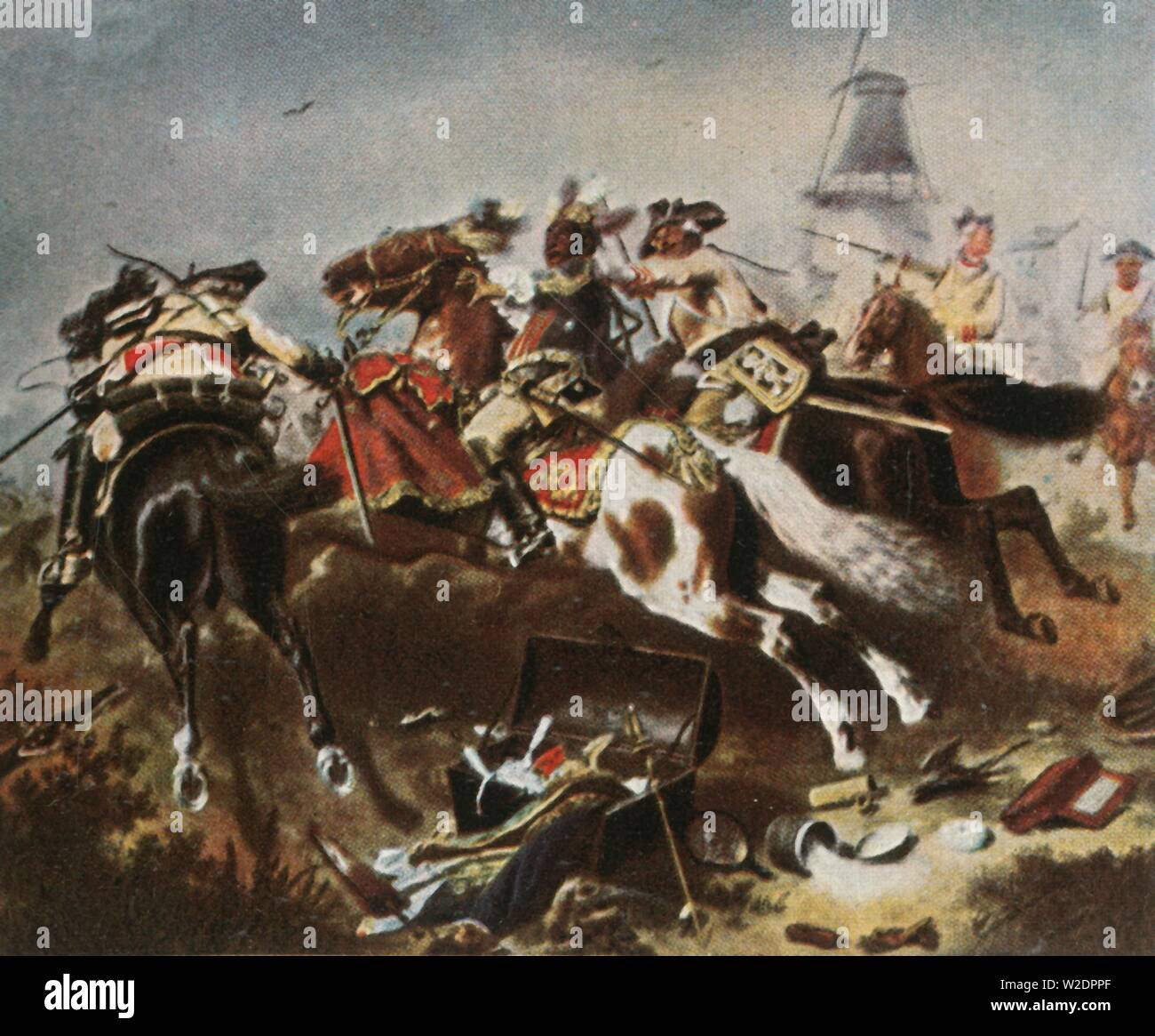 """Cavalry engagement at Rossbach, 5 November 1757, (1936). 'Reiterkampf Bei Rossbach, 5 November 1757'. At the Battle of Rossbach (in Germany), the Prussian cavalry  routed the French and Imperial armies. From """"Bilder Deutscher Geschichte"""", (Pictures of German History), No.12, cigarette card album. [Cigaretten-Bilderdienst, Altona-Bahrenfeld, Hamburg, Germany, 1936] - Stock Image"""
