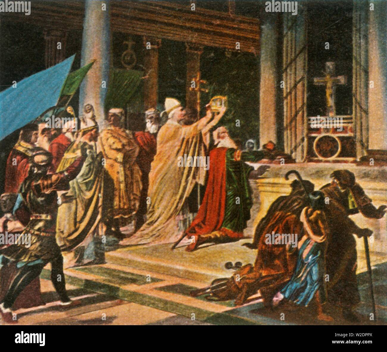 """Coronation of Charlemagne in Rome, Christmas Day, 800 AD, (1936). 'Krönung Karls Des Grossen in Rom, 25 Dezember 800'. Charlemagne, King of the Franks (742-814 AD), was crowned Holy Roman Emperor by Pope Leo III in Old St Peter's Basilica, Rome, Italy. From """"Bilder Deutscher Geschichte"""", (Pictures of German History), No.12, cigarette card album. [Cigaretten-Bilderdienst, Altona-Bahrenfeld, Hamburg, Germany, 1936] - Stock Image"""