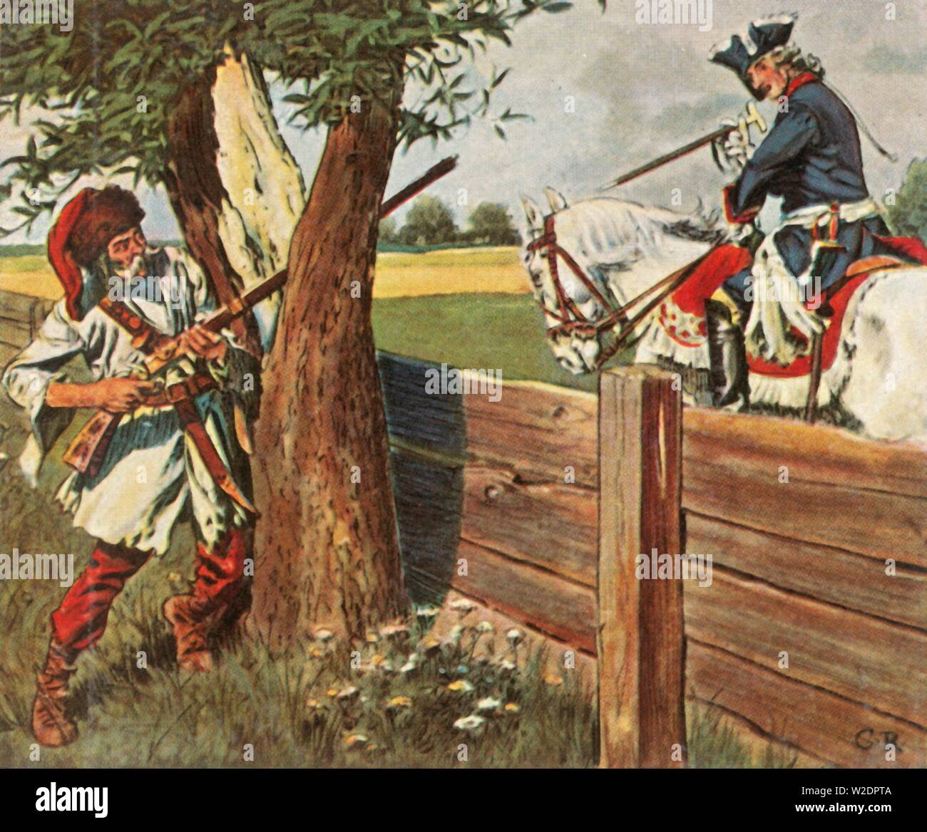 """Frederick the Great escapes danger through quick thinking, 1758, (1936). 'Friedrich Der Grosse Entgeht Durch Geistesgegenwart Einer Gefahr, 1758'. While out riding in Mähren (in Germany), King Frederick the Great of Prussia (1712-1786) noticed a Croat aiming a gun at him. He shouted to the man that there was no powder in the priming pan, at which the man dropped the weapon in confusion, and fled. From """"Bilder Deutscher Geschichte"""", (Pictures of German History), No.12, cigarette card album. [Cigaretten-Bilderdienst, Altona-Bahrenfeld, Hamburg, Germany, 1936] - Stock Image"""