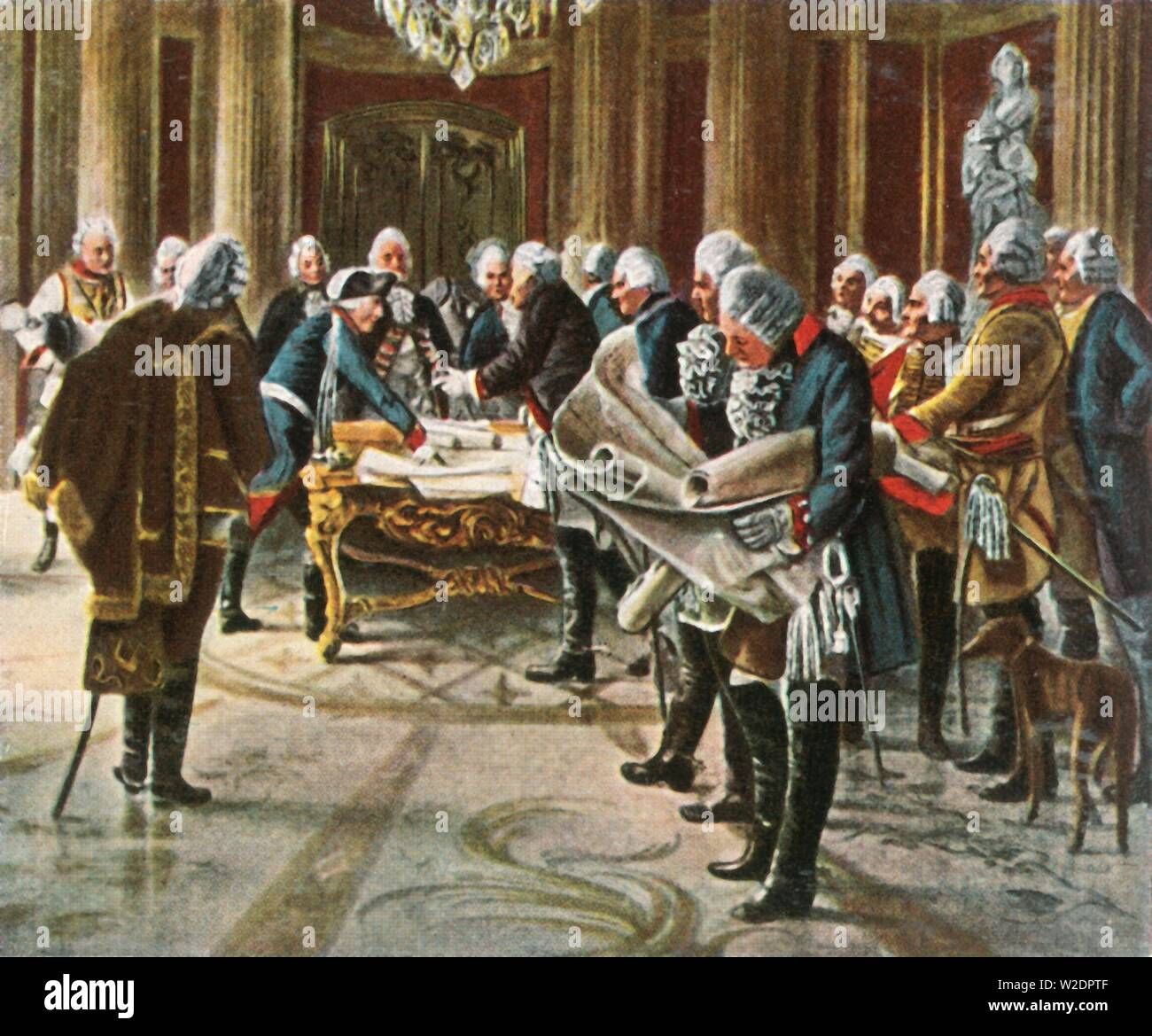 """Frederick the Great holds a council of war with his generals, August 1756, (1936). 'Friedrich Der Grosse Hält Kriegsrat Mit Seinen Generalen, August 1756'. King Frederick the Great of Prussia (1712-1786) discusses strategy with his military advisors at his palace of Sanssouci in Potsdam, Germany. From """"Bilder Deutscher Geschichte"""", (Pictures of German History), No.12, cigarette card album. [Cigaretten-Bilderdienst, Altona-Bahrenfeld, Hamburg, Germany, 1936] - Stock Image"""