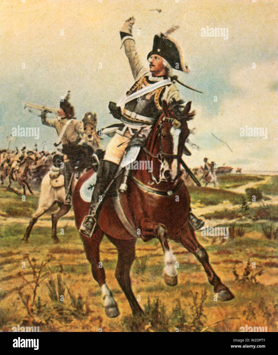 """General Seydlitz gives the signal to advance at Rossbach, 5 November 1757, (1936). At the Battle of Rossbach (in Germany), Prussian cavalry officer Friedrich Wilhelm von Seydlitz (1721-1773) and his men routed the French and Imperial armies. He is usually credited with developing the Hussar regiments of Frederick the Great's Army. From """"Bilder Deutscher Geschichte"""", (Pictures of German History), No.12, cigarette card album. [Cigaretten-Bilderdienst, Altona-Bahrenfeld, Hamburg, Germany, 1936] - Stock Image"""