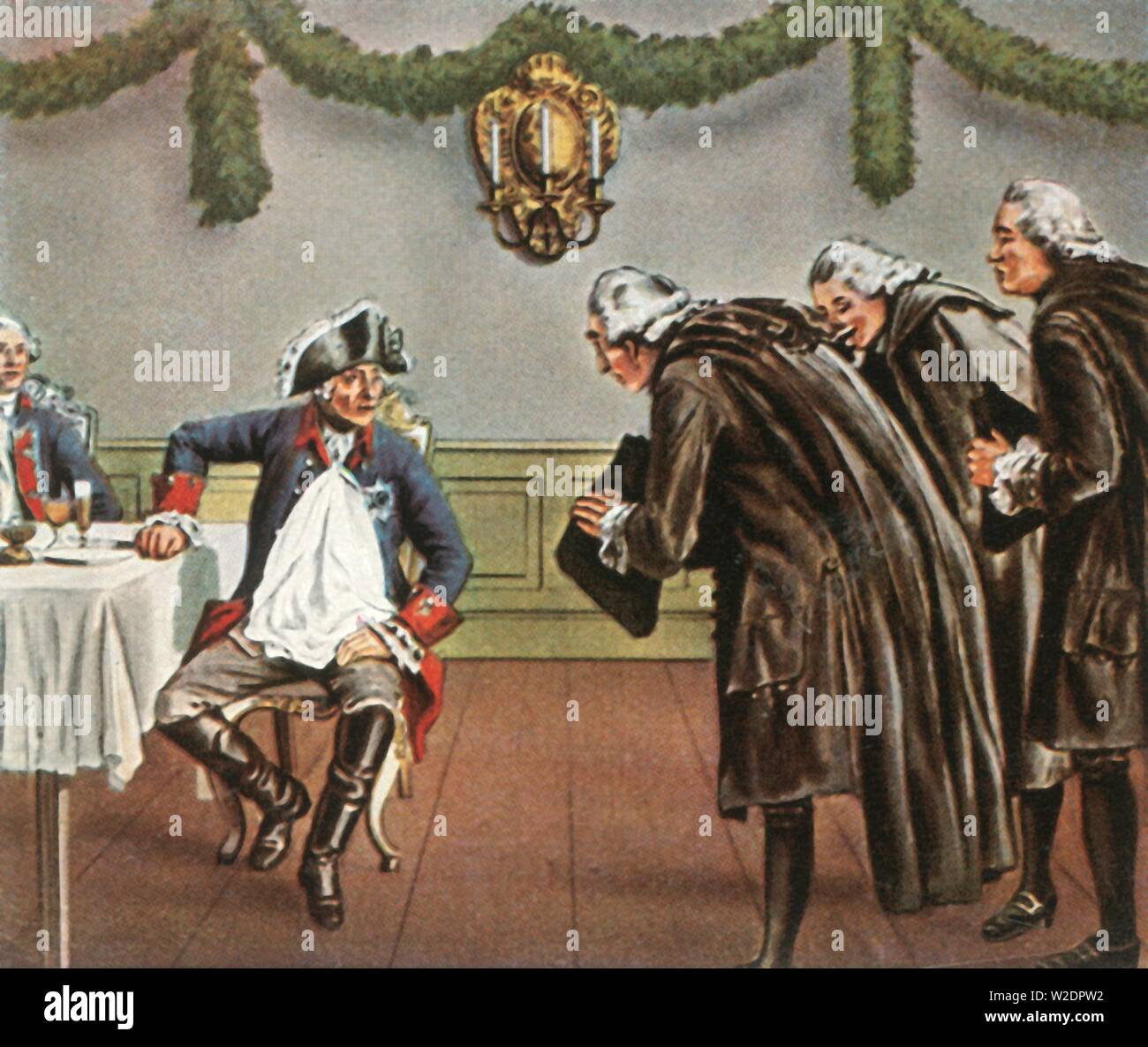 """Frederick the Great and the men from Greiffenberg, 1784, (1936). 'Friedrich Der Grosse Und Die Greiffenberger, 1784'. King Frederick the Great of Prussia (1712-1786) invested money in the reconstruction of the linen town of Greiffenberg (Angermünde, Germany), after it was destroyed by fire. A group of its grateful inhabitants visited him the following year to express their gratitude. From """"Bilder Deutscher Geschichte"""", (Pictures of German History), No.12, cigarette card album. [Cigaretten-Bilderdienst, Altona-Bahrenfeld, Hamburg, Germany, 1936] - Stock Image"""