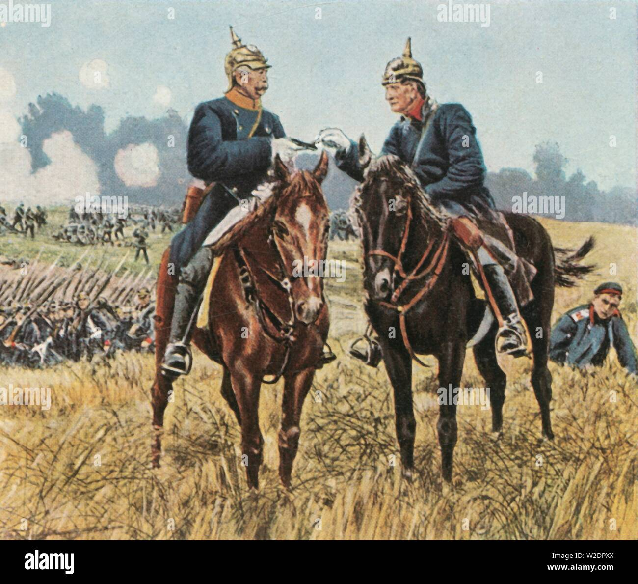 "Bismarck and Moltke at Königgratz, 3 July 1866, (1936). 'Bismarck Und Moltke Bei Königgrätz, 3 Juli 1866'. Prussian officers Otto von Bismarck (1815-189) and Helmuth von Moltke (1800-1891) on the battlefield. The Battle of Königgrätz took place near Königgrätz in Bohemia (modern-day Hradec Králové in the Czech Republic). It was the decisive battle of the Austro-Prussian War in which the Kingdom of Prussia defeated the Austrian Empire. From ""Bilder Deutscher Geschichte"", (Pictures of German History), No.12, cigarette card album. [Cigaretten - Stock Image"