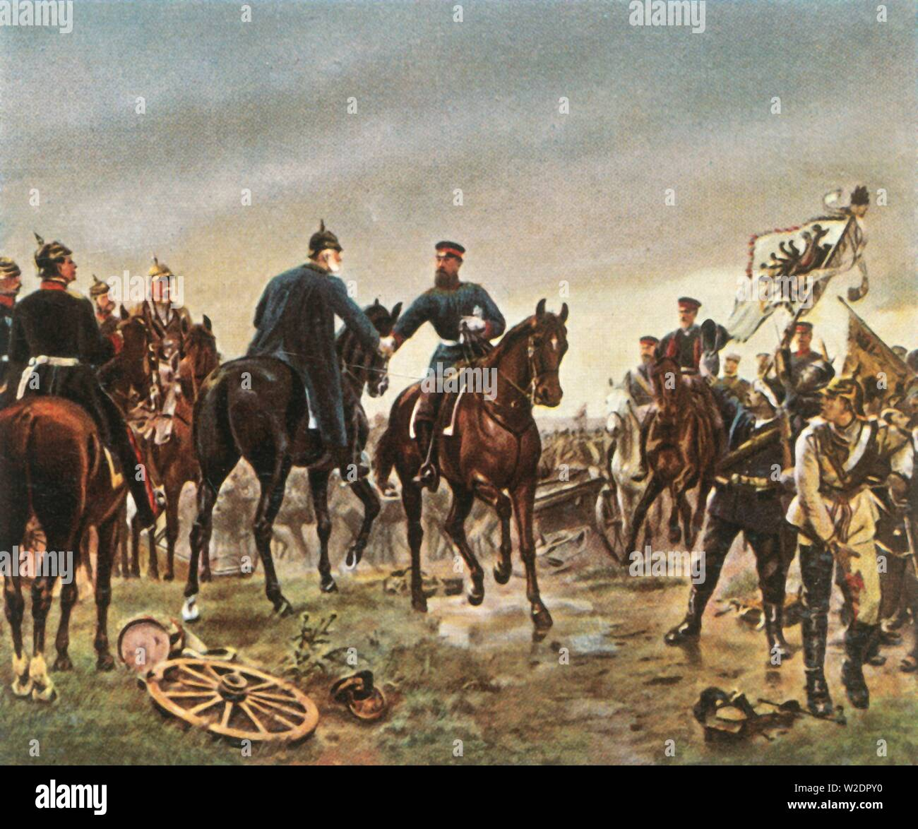 Meeting of King Wilhelm I and Crown Prince Friedrich Wilhelm at the Battle of Königgrätz, 3 July 1866, (1936). 'Begegnung König Wilhelms I Mit Kronprinz Friedrich Wilhelm In Der Schlacht Bei Königgrätz, 3 Juli 1866'. King Wilhelm I of Prussia, Emperor of Germany (1797-1888) meets his son Friedrich Wilhelm (1831-1888, future German Emperor and King of Prussia Frederick III). The Battle of Königgrätz took place near Königgrätz in Bohemia (modern-day Hradec Králové in the Czech Republic). It was the decisive battle of the Austro-Prussian War - Stock Image