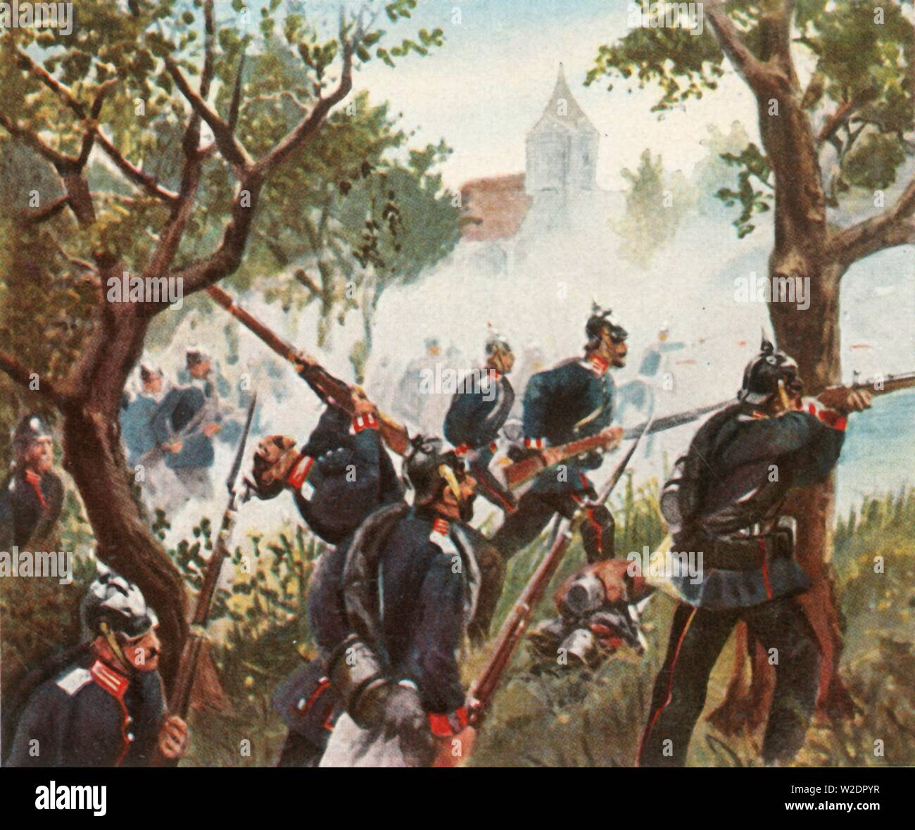 "The Battle of Königgratz, 3 July 1866, (1936). 'Die Schlacht Bei Königgratz, 3 Juli 1866'. The Battle of Königgrätz took place near Königgrätz in Bohemia (modern-day Hradec Králové in the Czech Republic). It was the decisive battle of the Austro-Prussian War in which the Kingdom of Prussia defeated the Austrian Empire. From ""Bilder Deutscher Geschichte"", (Pictures of German History), No.12, cigarette card album. [Cigaretten-Bilderdienst, Altona-Bahrenfeld, Hamburg, Germany, 1936] - Stock Image"