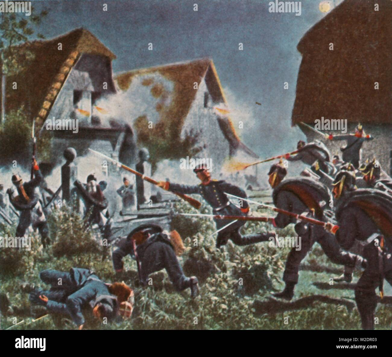 "Night attack at Podol, 26 June 1866, (1936). 'Nachtgefecht Bei Podol, 26 Juni 1866'. The Battle of Podol, during the Austro-Prussian War, took place in Bohemia (at modern day Svijany). From ""Bilder Deutscher Geschichte"", (Pictures of German History), No.12, cigarette card album. [Cigaretten-Bilderdienst, Altona-Bahrenfeld, Hamburg, Germany, 1936] - Stock Image"
