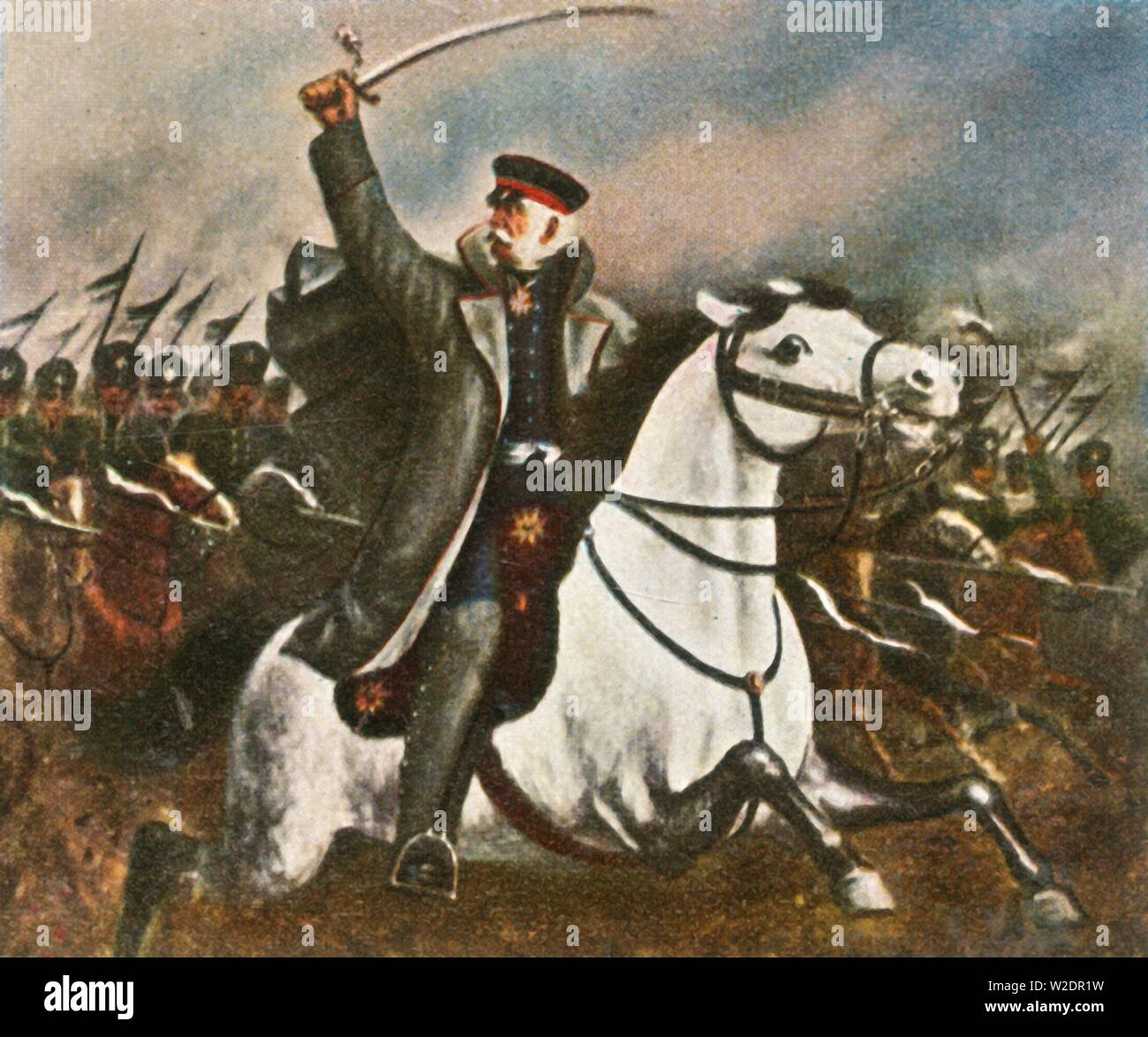 """Field Marshal Blücher, (1936). 'Feldmarschall Blücher'. Prussian Generalfeldmarschall Gebhard Leberecht von Blücher, Fürst von Wahlstatt (1742-1819) earned his greatest recognition after leading his army against Napoleon I at the Battle of the Nations at Leipzig in 1813 and the Battle of Waterloo in 1815. From """"Bilder Deutscher Geschichte"""", (Pictures of German History), No.12, cigarette card album. [Cigaretten-Bilderdienst, Altona-Bahrenfeld, Hamburg, Germany, 1936] - Stock Image"""