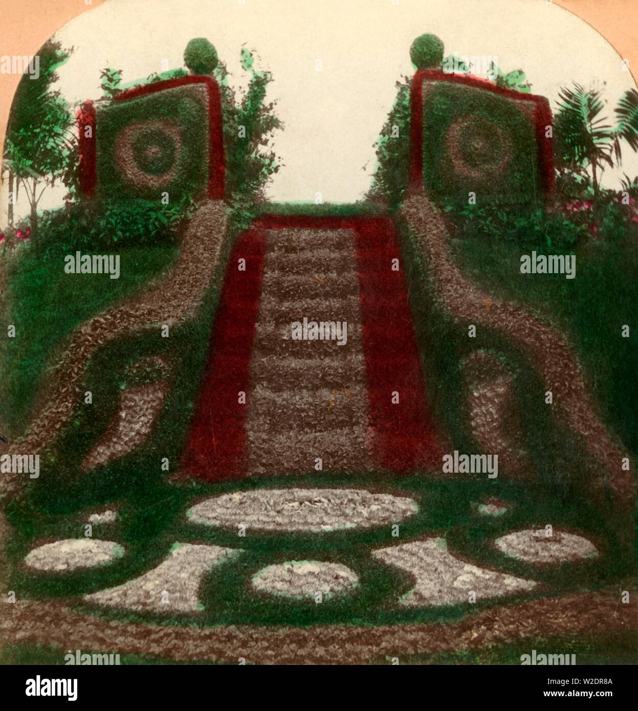 'Gates Ajar, Como Park, St. Paul, Minn., U.S.A.', 1897. Floral display inSt Paul, Minnesota. Gated stairway dating from 1894, covered in carpet bedding. Stereocard. [Keystone View Company, USA, 1897] - Stock Image