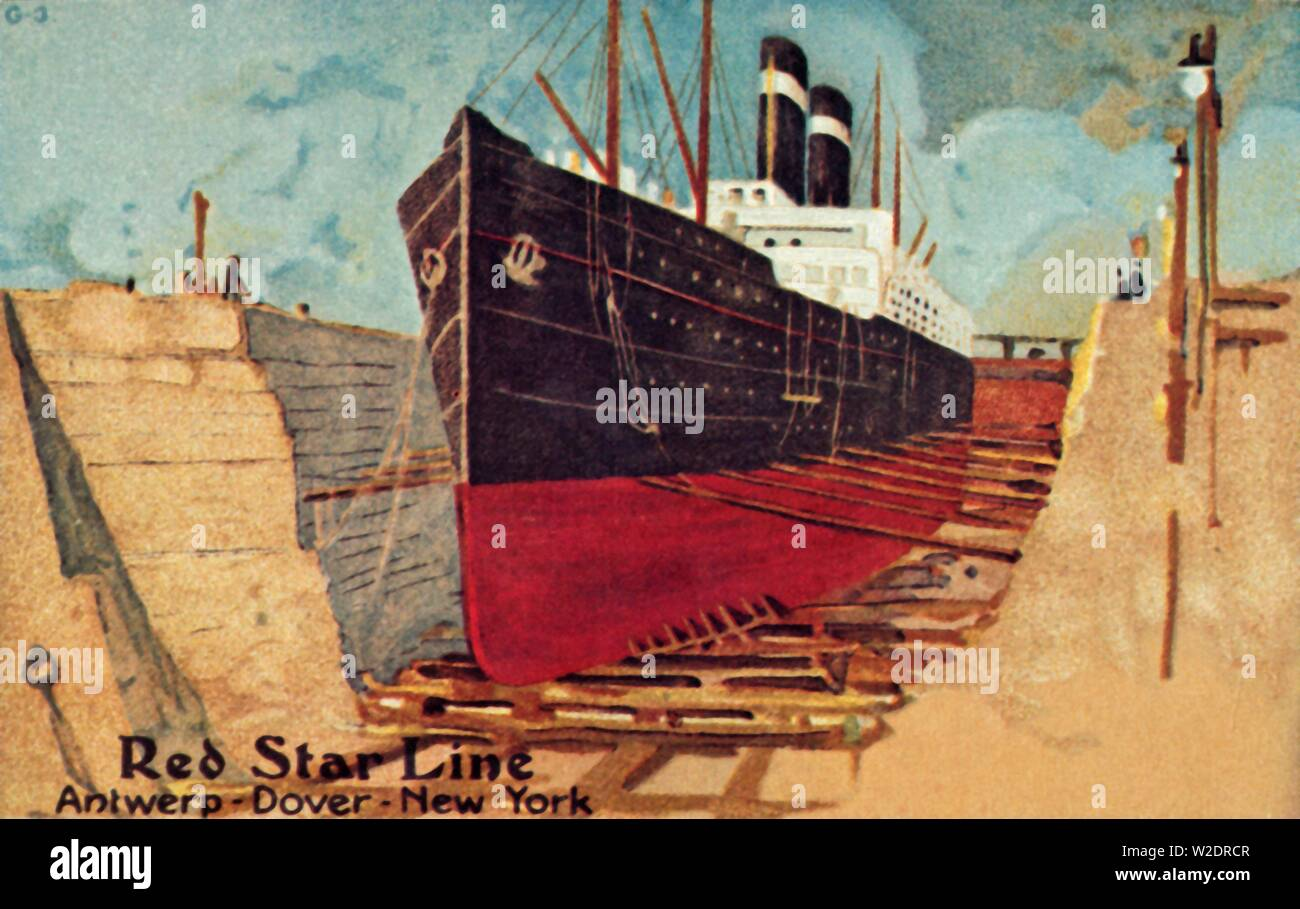 Red Star liner in dry dock for repair, c1905. Passenger ship of the Red Star Line undergoing regular hull cleaning or other repairs. Postcard. - Stock Image