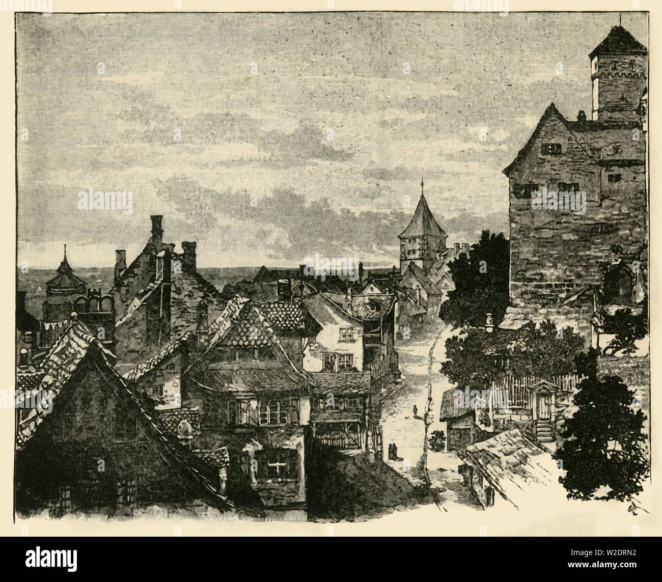 "'The Kaiserberg, Nuremberg', 1890. Nuremberg Castle, a medieval fortification represented the power of the Holy Roman Empire.  From ""Cassell's Illustrated Universal History, Vol. IV - Modern History"", by Edmund Ollier. [Cassell and Company, Limited, London, Paris and Melbourne, 1890] - Stock Image"