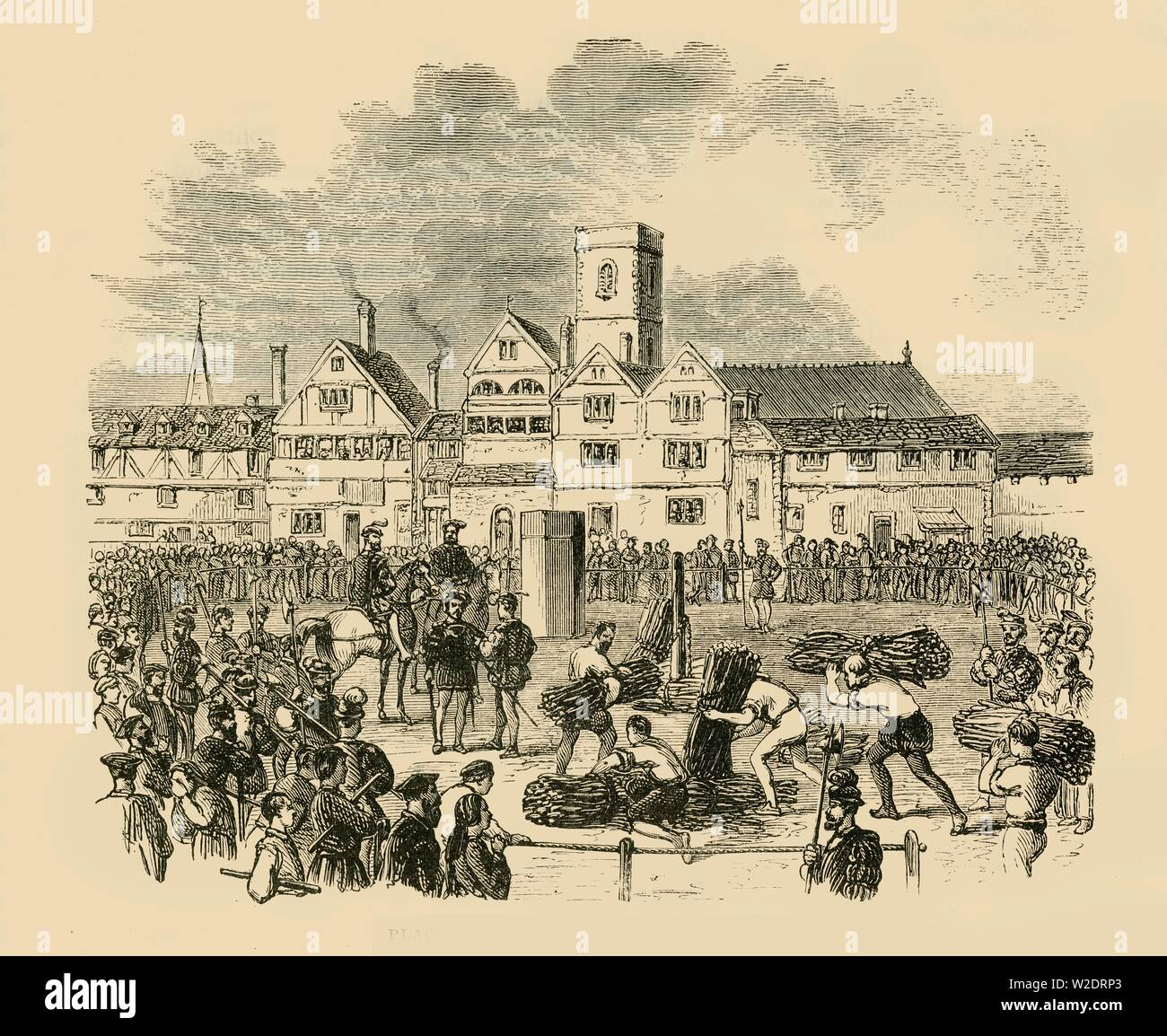 """'Place of Execution, Old Smithfield', 1890. The Marian Martyrs, protestants slaughtered under Queen Mary, met their demise at the Elms in Smithfield, also the site of William Wallace's execution in 1305.  Heretics were burned at the stake. From """"Cassell's Illustrated Universal History, Vol. IV - Modern History"""", by Edmund Ollier. [Cassell and Company, Limited, London, Paris and Melbourne, 1890] - Stock Image"""