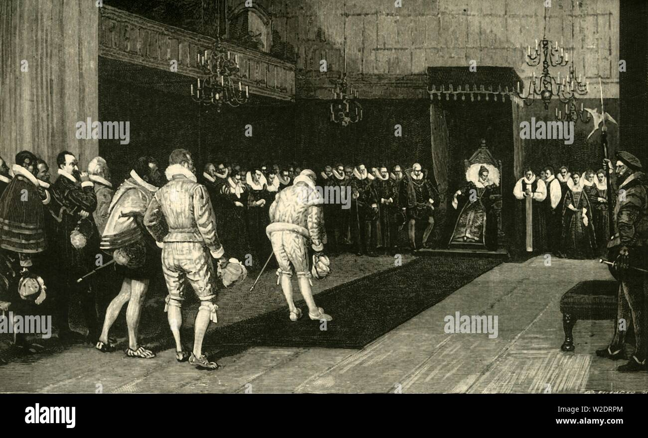 'Queen Elizabeth Receiving the French Ambassadors after the Massacre of St. Bartholomew', 1890.   Creator: Unknown. Stock Photo