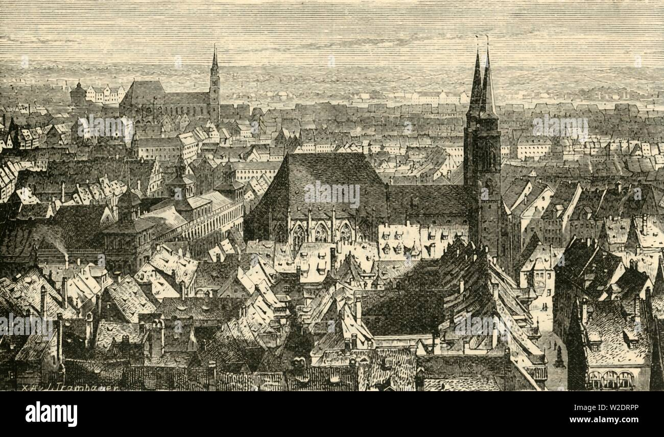 "'Nuremberg from the Walls', 1890. The spires of medieval St Lorenz Church, from the walls of Nuremberg Castle.  From ""Cassell's Illustrated Universal History, Vol. IV - Modern History"", by Edmund Ollier. [Cassell and Company, Limited, London, Paris and Melbourne, 1890] - Stock Image"