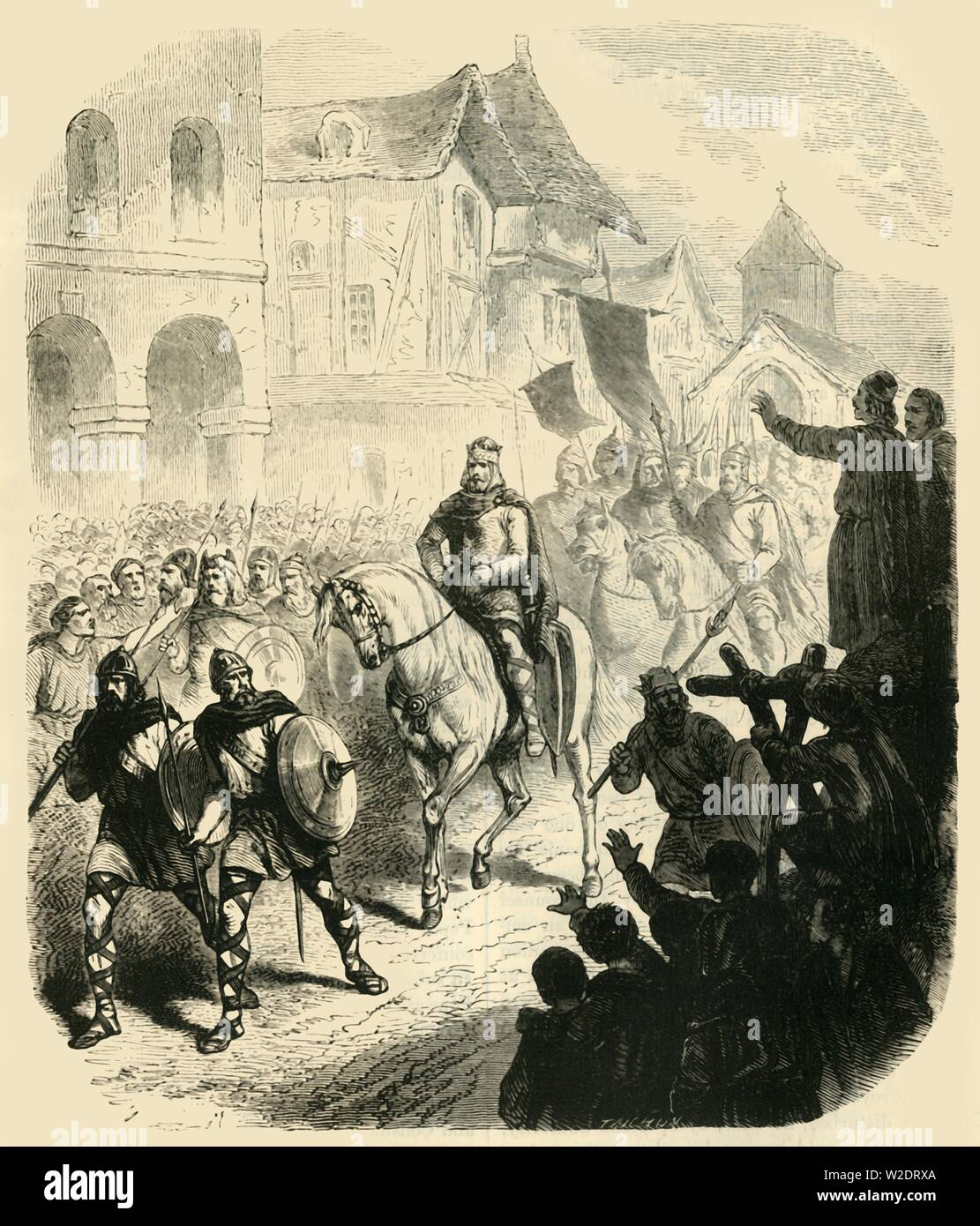 """'Entry of Charles Martel into Paris, After Defeating the Saracens',  (732AD), 1890. Charles Martel (c688-741) Frankish statesman and military leader defeated the Saracens at the Battle of Tours or Poitiers in 732. From """"Cassell's Illustrated Universal History, Vol. III - The Middle Ages"""", by Edmund Ollier. [Cassell and Company, Limited, London, Paris and Melbourne, 1890. ] - Stock Image"""