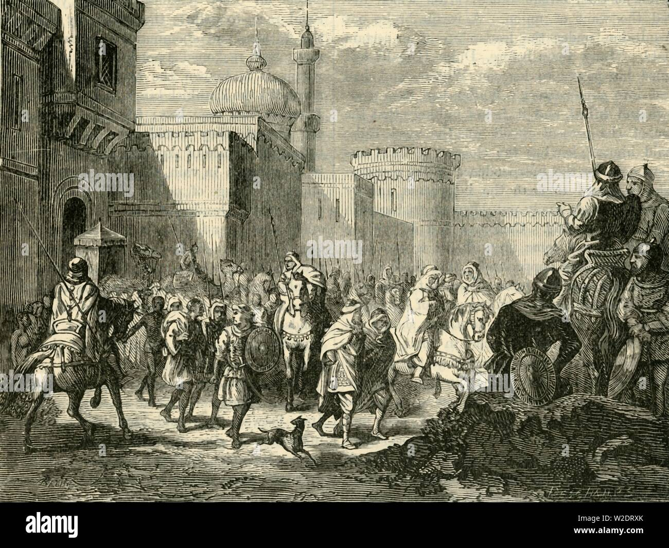 """'The Saracens Leaving Narbonne, Restored to the Franks', ( (737AD), 1890. The Saracens defeated by Charlemagne in 737AD. From """"Cassell's Illustrated Universal History, Vol. III - The Middle Ages"""", by Edmund Ollier. [Cassell and Company, Limited, London, Paris and Melbourne, 1890. ] - Stock Image"""