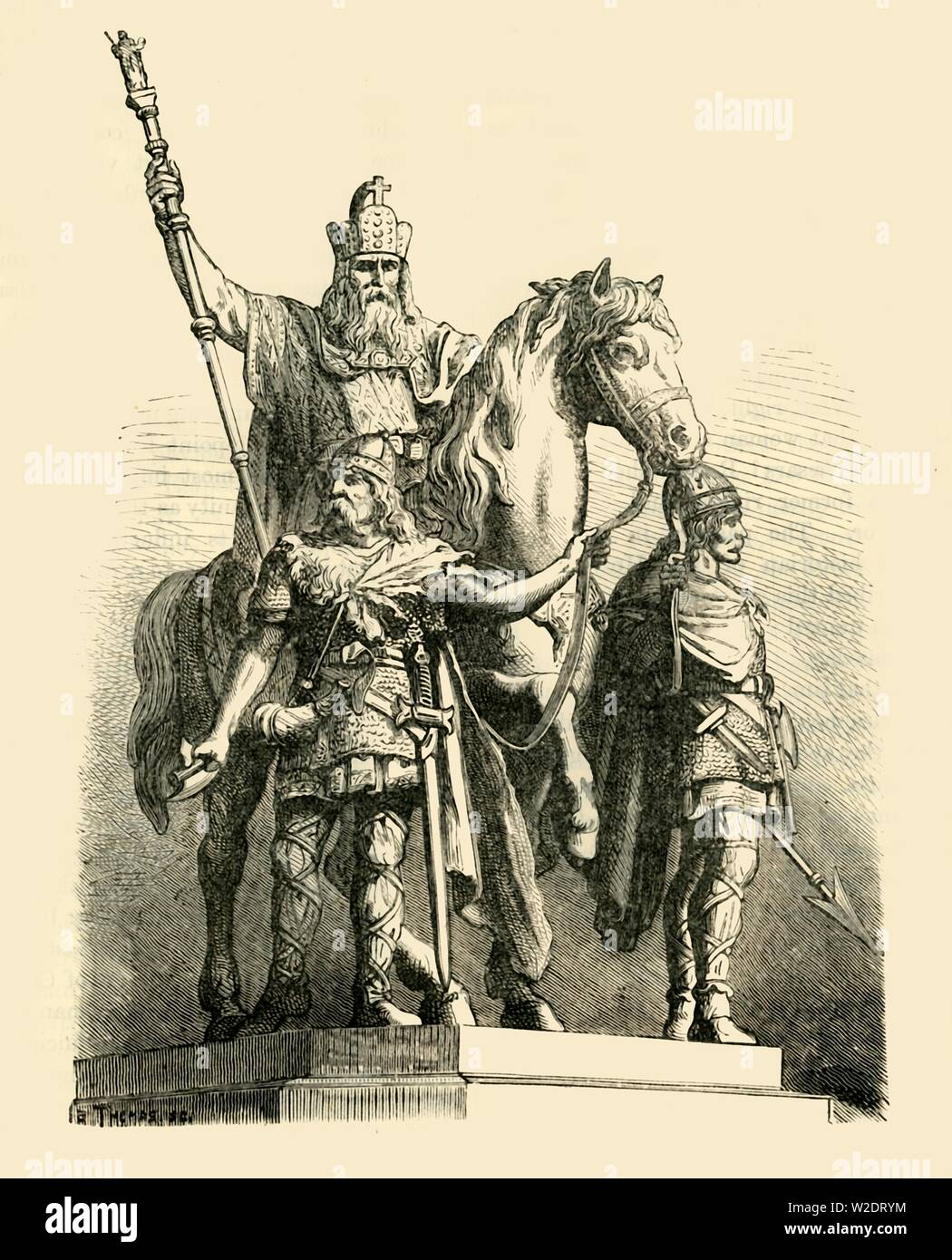 """'Equestrian Statue of Charlemagne, Paris', 1890. Charlemagne et ses Leudes in the 4th arrondissement of Paris, is a bronze statue by Charles Rochet and Louis Rochet, of Charlemagne (742-814) and his vassals Roland and Olivier.  From """"Cassell's Illustrated Universal History, Vol. III - The Middle Ages"""", by Edmund Ollier. [Cassell and Company, Limited, London, Paris and Melbourne, 1890. ] - Stock Image"""