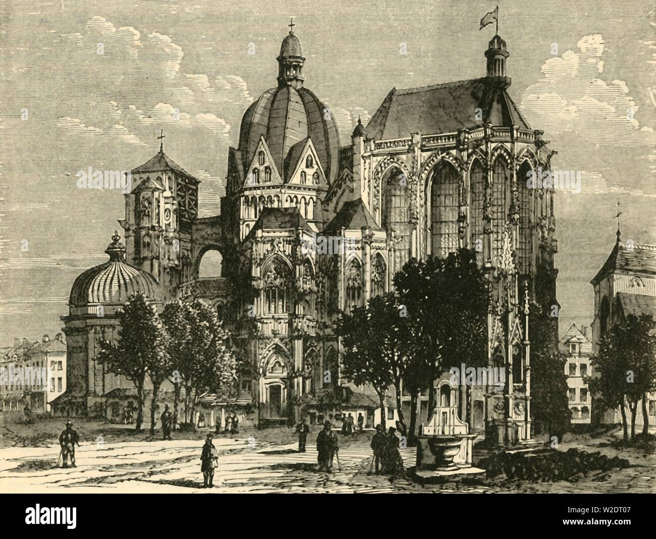 """'The Basilica of Aachen, or Aix-La-Chapelle', 1890. Aachen Cathedral was constructed by order of emperor Charlemagne, who was buried here after his death in 814. From """"Cassell's Illustrated Universal History, Vol. III - The Middle Ages"""", by Edmund Ollier. [Cassell and Company, Limited, London, Paris and Melbourne, 1890. ] - Stock Image"""