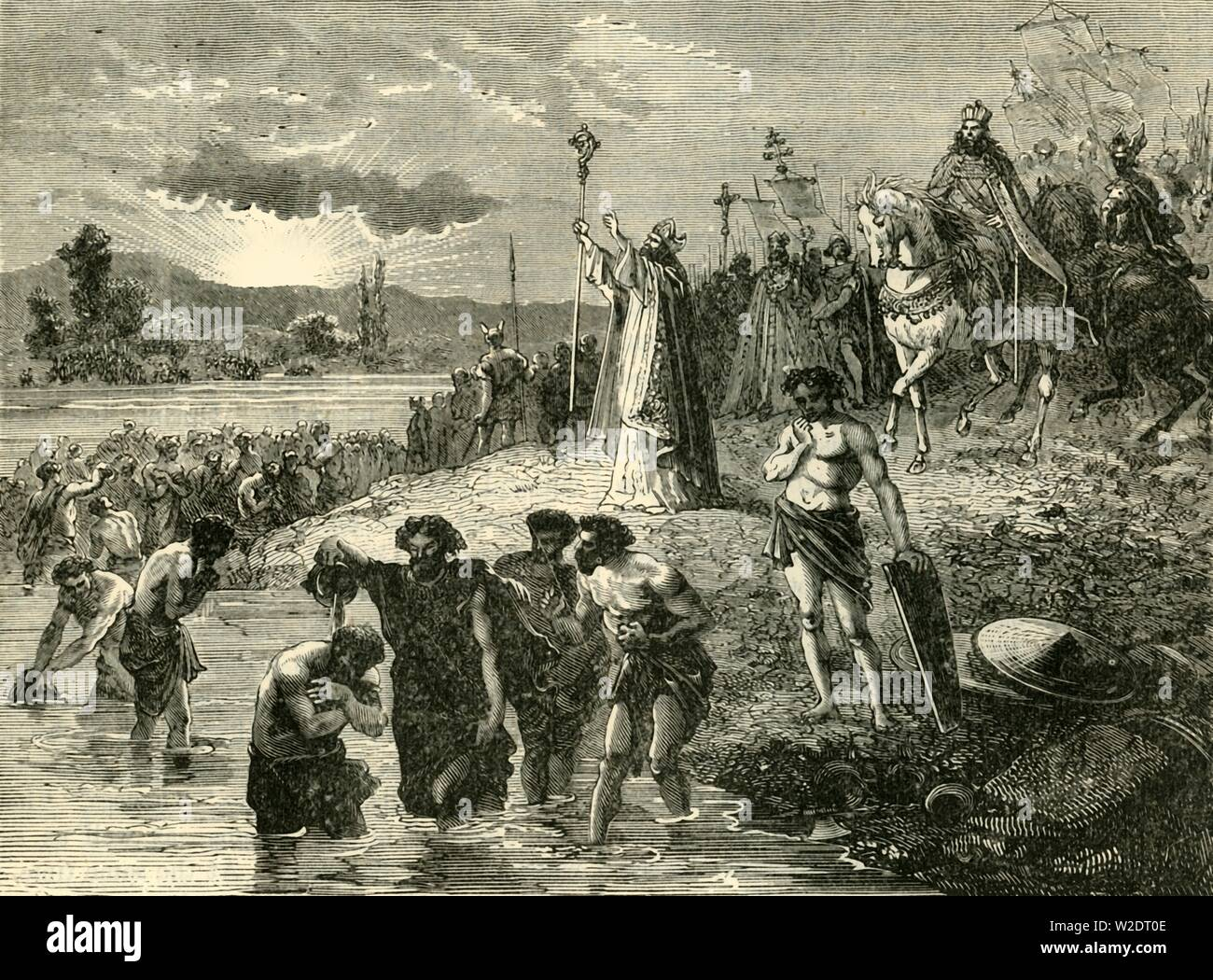 """'Charlemagne Causing the Saxons to be Baptised in the Weser', (782AD), 1890. Charlemagne  (742-814) King of the Franks prescribed death to Saxon pagans who refused to convert to Christianity, 4,500 prisoners were beheaded in the Massacre of Verden. From """"Cassell's Illustrated Universal History, Vol. III - The Middle Ages"""", by Edmund Ollier. [Cassell and Company, Limited, London, Paris and Melbourne, 1890. ] - Stock Image"""