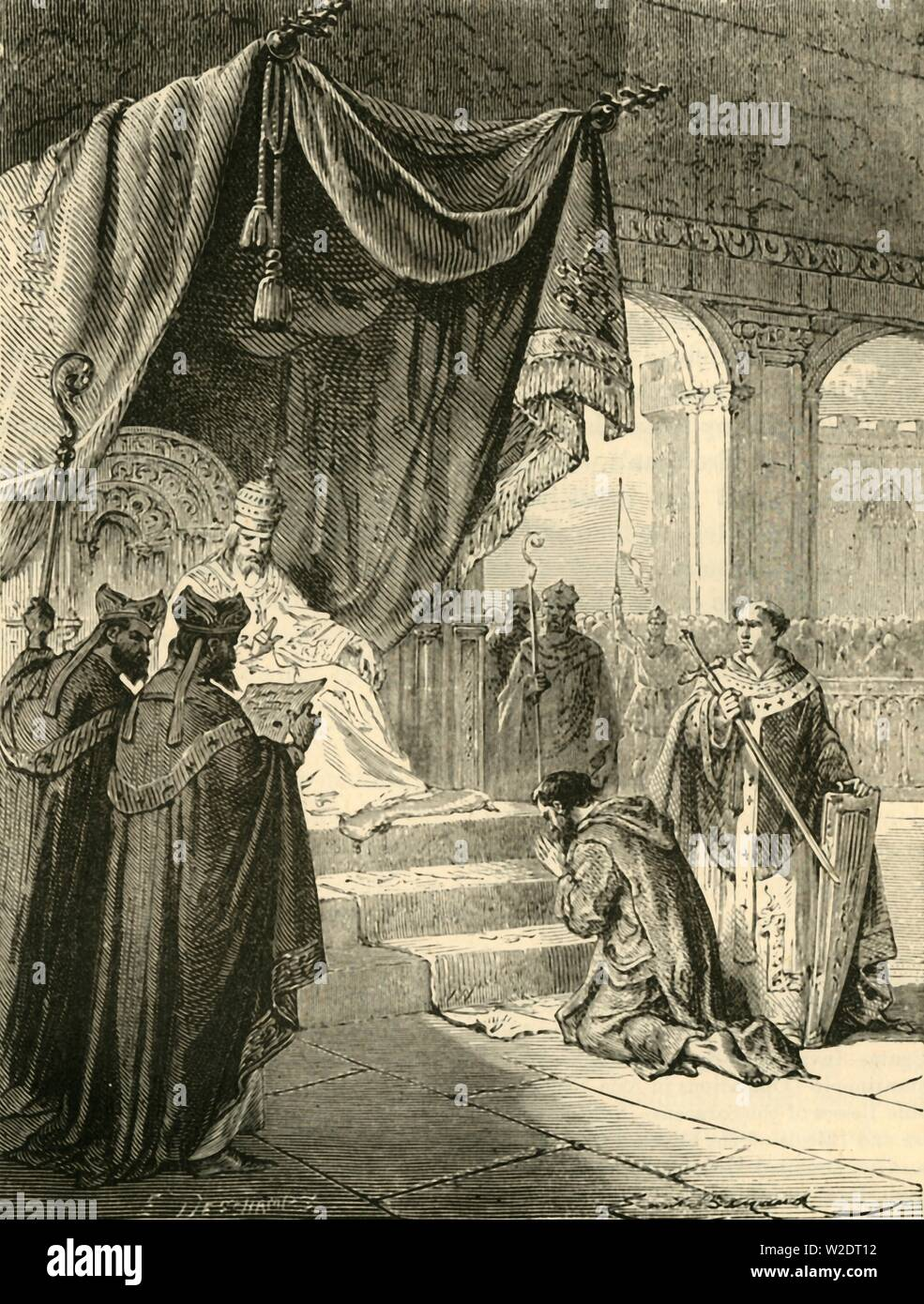 """'Louis the Pious Doing Penance for the Treatment of his Nephew, Bernard', (c818), 1890. Louis the Pious (778- 840) King of the Franks and co-emperor with his father Charlemagne,  in penance for blinding his nephew Bernard of Italy, a procedure which killed him.  From """"Cassell's Illustrated Universal History, Vol. III - The Middle Ages"""", by Edmund Ollier. [Cassell and Company, Limited, London, Paris and Melbourne, 1890. ] - Stock Image"""