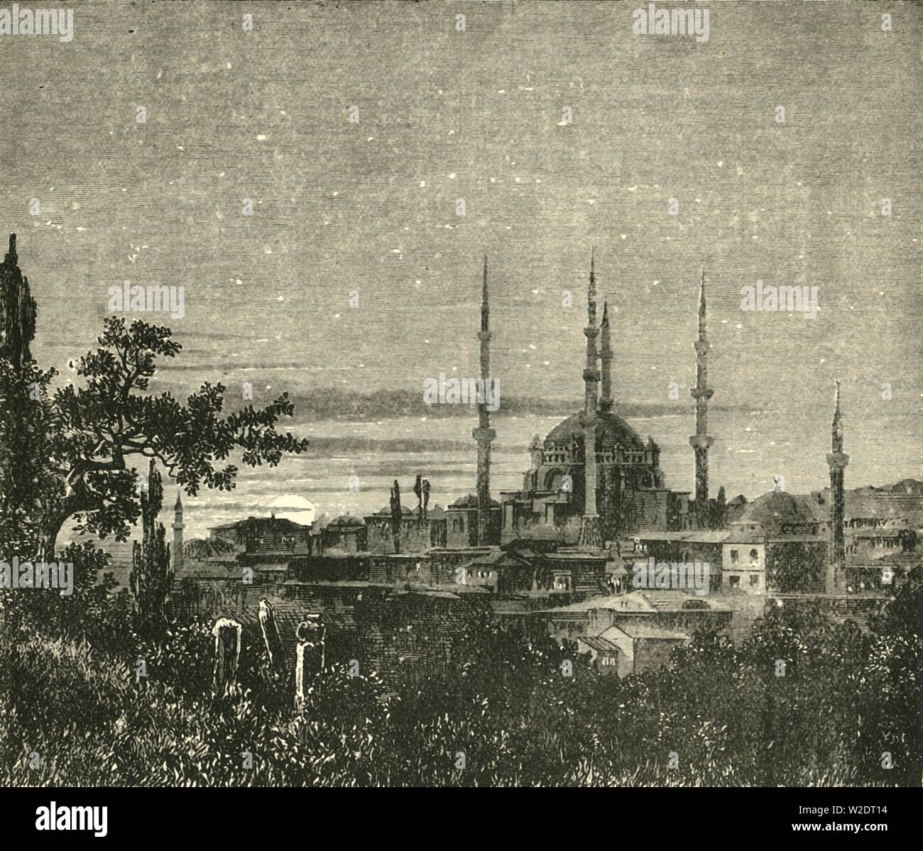 "'View in Adrianople - The Mosque of Selim II', 1890. Ottoman imperial  Selimiye Mosque in Edirne, Turkey, was commissioned by Sultan Selim II, and built by Mimar Sinan between 1568-1575.  From ""Cassell's Illustrated Universal History, Vol. III - The Middle Ages"", by Edmund Ollier. [Cassell and Company, Limited, London, Paris and Melbourne, 1890. ] - Stock Image"