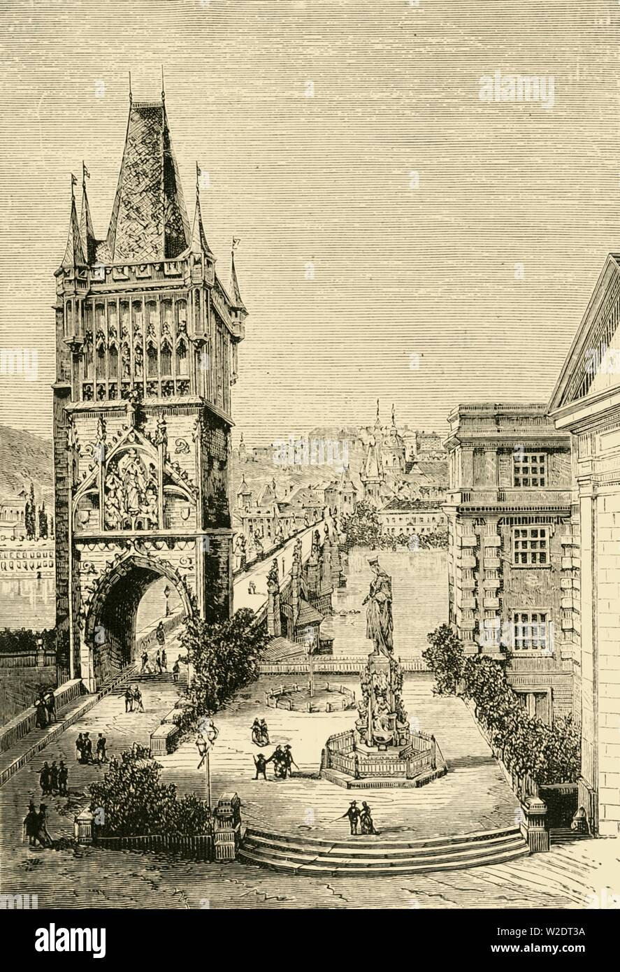 """'View in Prague - The bridge Tower', 1890.  Gothic monument on the Charles Bridge Prague over the Vltava river in Prague, built late 14th century, under Emperor Charles IV, designed by  Petr Parler.  From """"Cassell's Illustrated Universal History, Vol. III - The Middle Ages"""", by Edmund Ollier. [Cassell and Company, Limited, London, Paris and Melbourne, 1890. ] - Stock Image"""