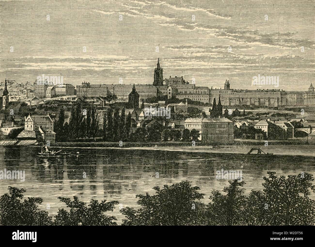 """'Palace of the Bohemian Kings and Cathedral of Hradschin, Prague', 1890. Prague Castle and Royal Palace, dating from  9th century, rebuilt in Gothic style under the reign of Charles IV and St Vitus Cathedral. From """"Cassell's Illustrated Universal History, Vol. III - The Middle Ages"""", by Edmund Ollier. [Cassell and Company, Limited, London, Paris and Melbourne, 1890. ] - Stock Image"""